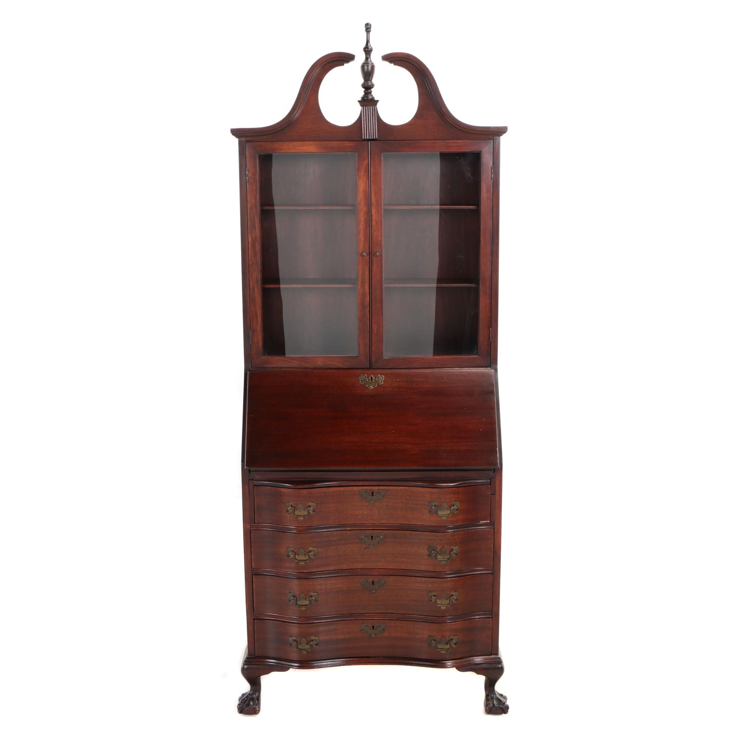 Chippendale Style Mahogany-Veneered and Stained Secretary Bookcase