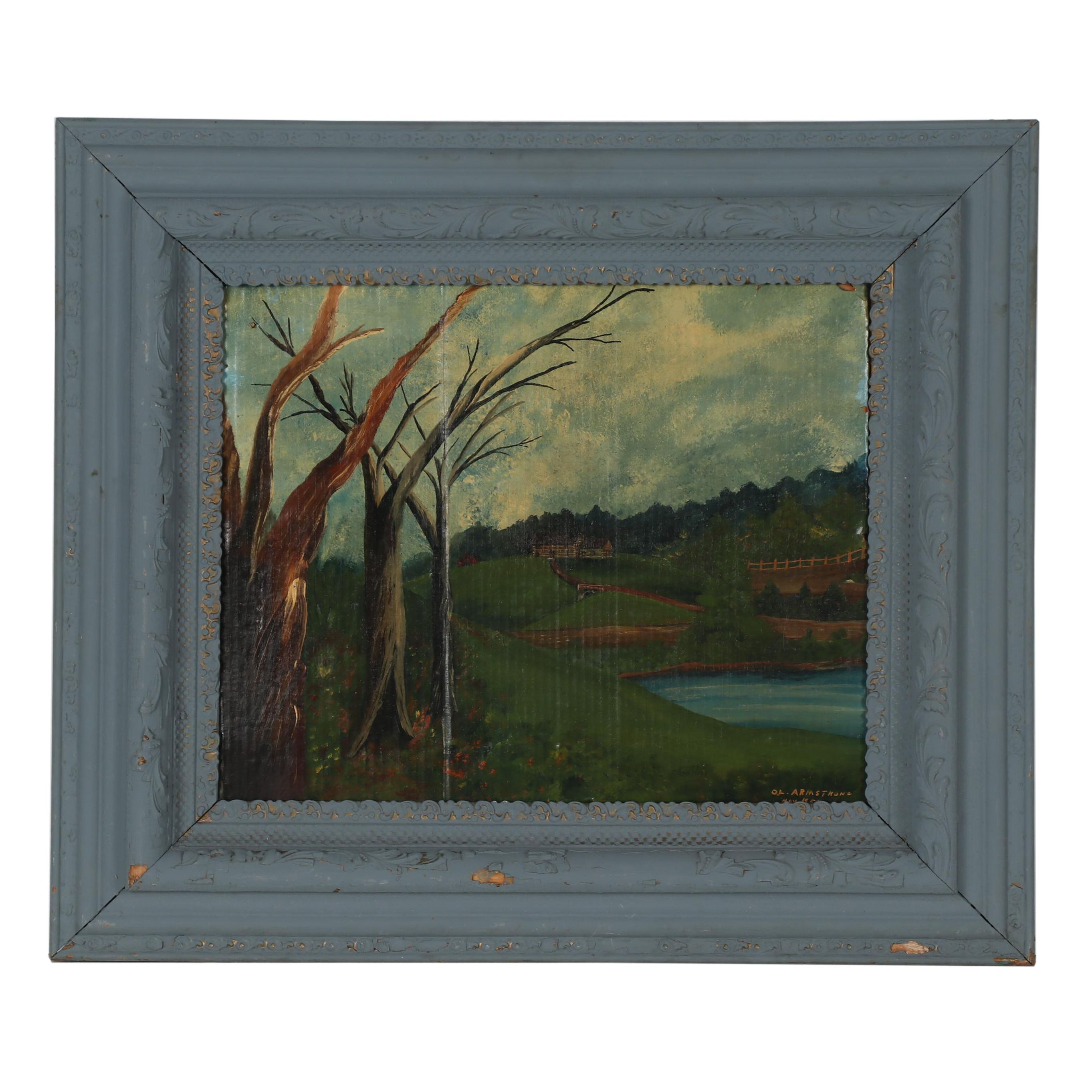 O.L. Armstrong 1958 Oil Painting of Rural Landscape