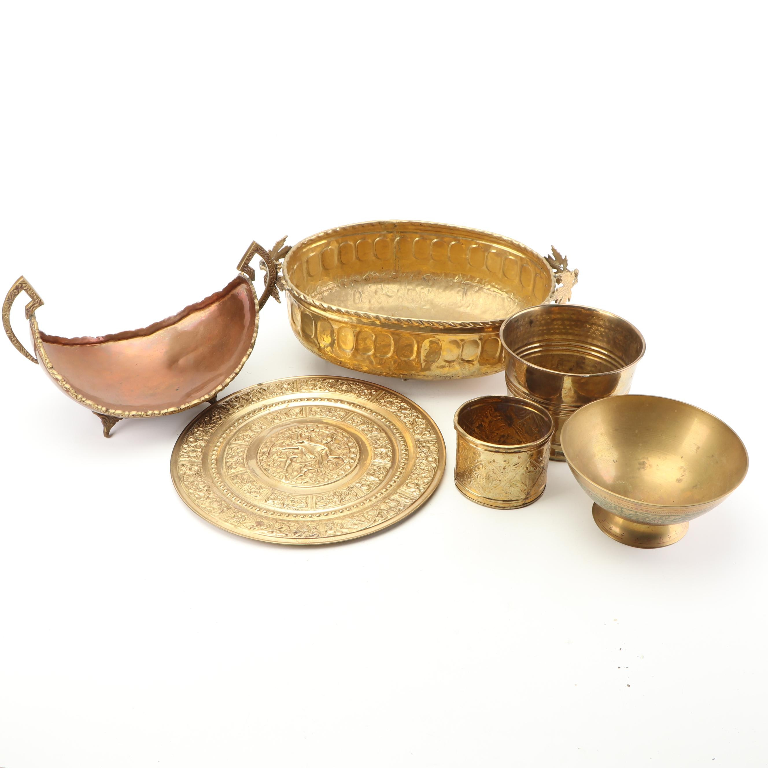 A. Lara Brass and Copper Bowl with Repoussé Planters