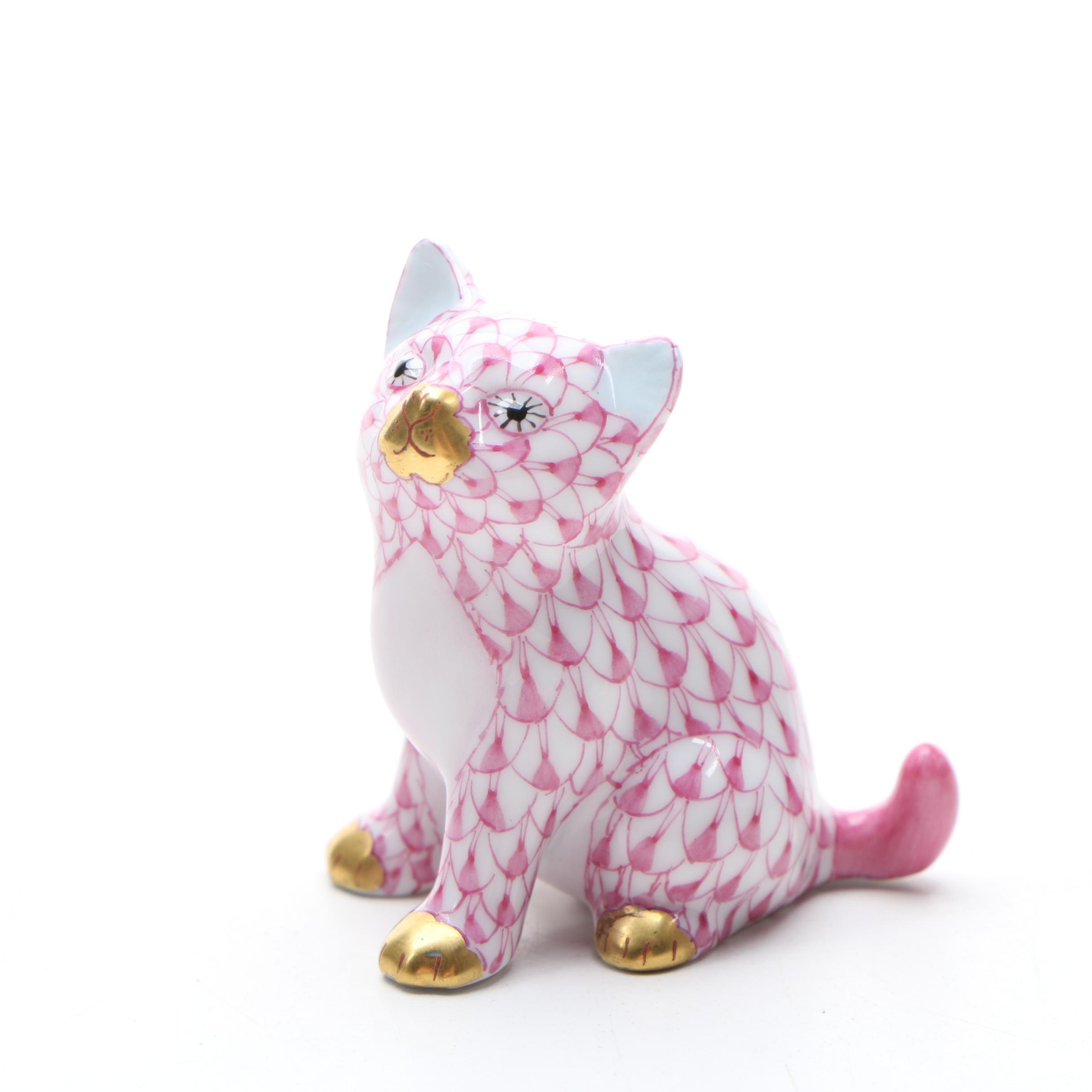 "Herend Raspberry Fishnet ""Sitting Kitty"" Porcelain Figurine"