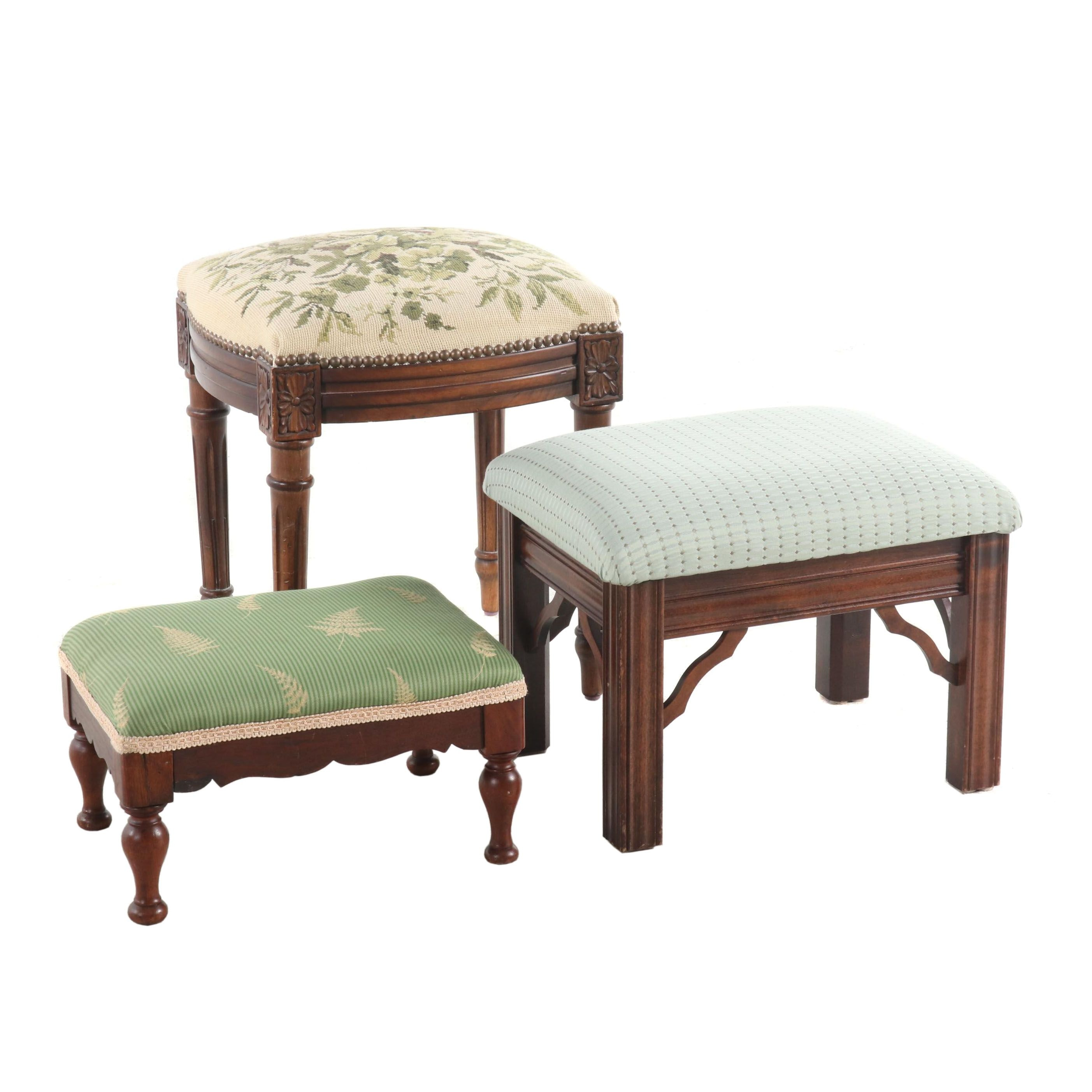 Three Various Wood and Upholstery Footstools, 20th Century
