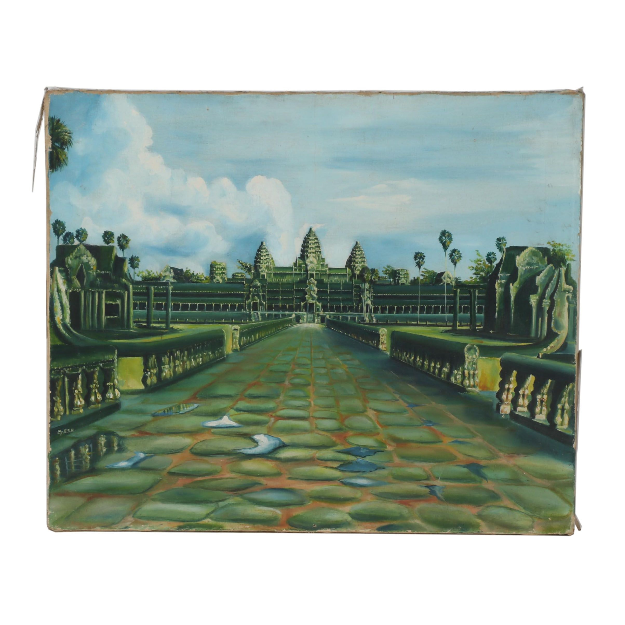 Late 20th Century Oil Painting of Angkor Wat