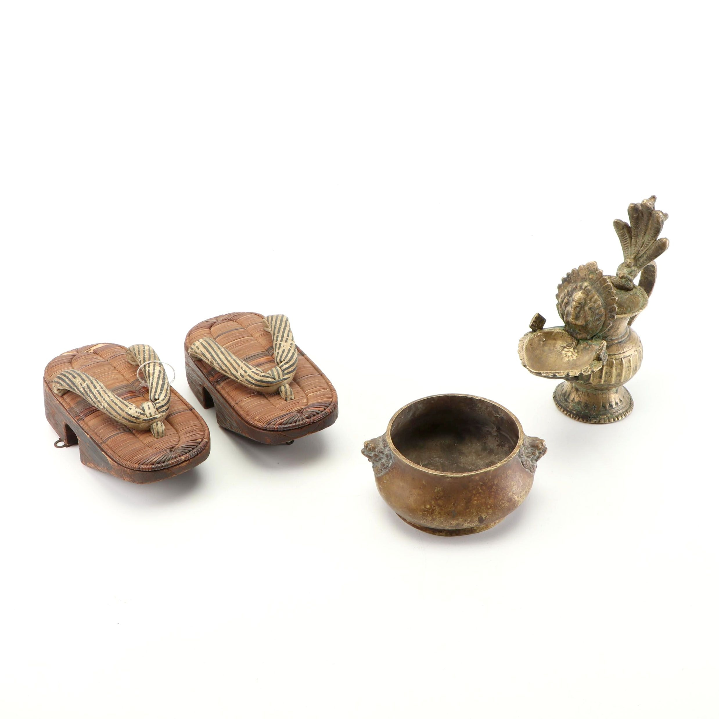 Japanese Geta Sandals with Chinese Censer and Indian Butter Lamp