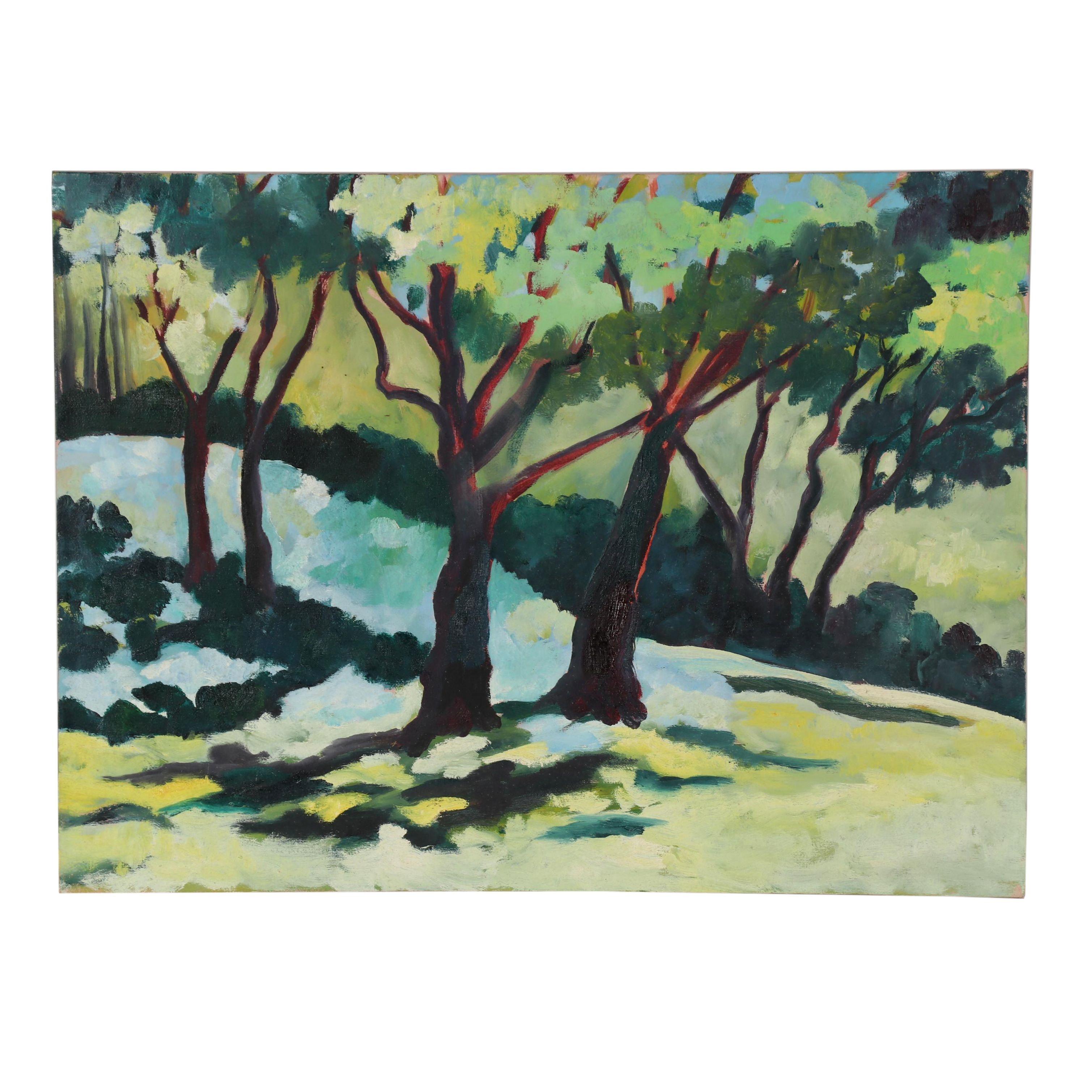 Late 20th Century Oil Painting of Woods