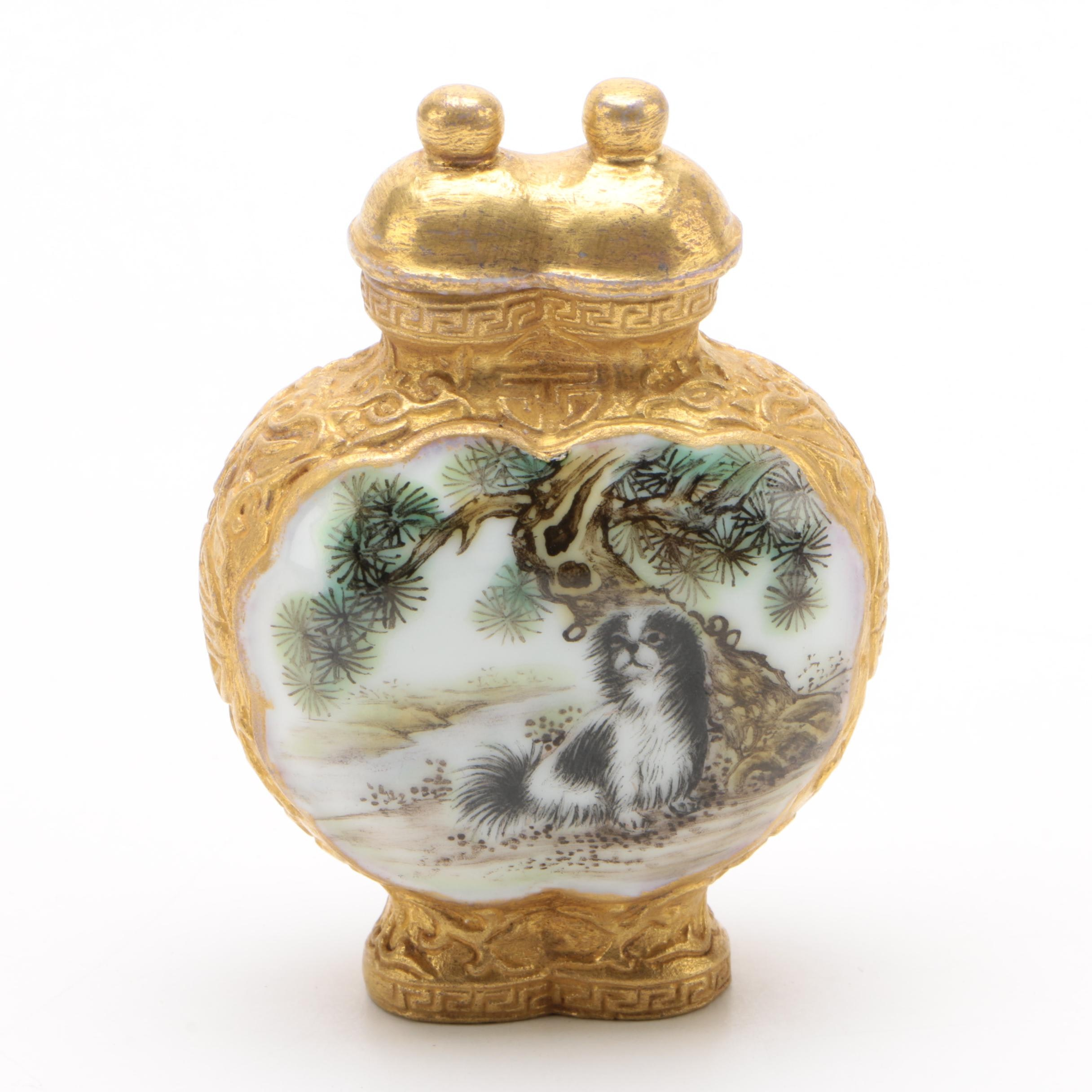 Chinese Porcelain Double Lobed Snuff Bottle Hand Decorated with Goat and Dog