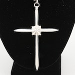 Sterling Silver Bench Bead and Cross Pendant Necklace