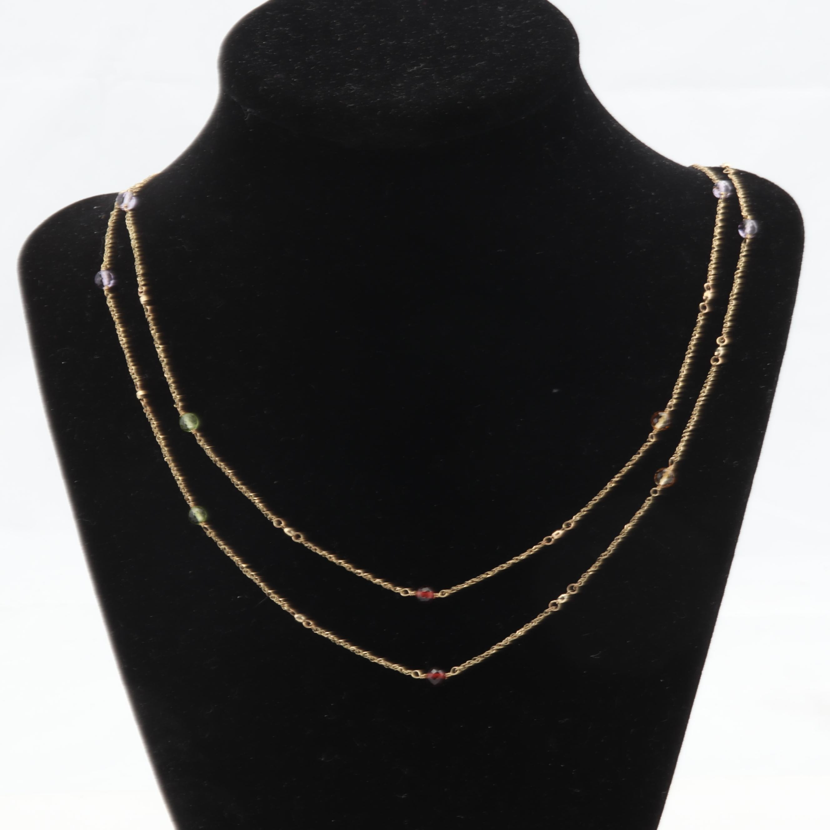 14K Yellow Gold Amethyst, Garnet, Citrine and Green Tourmaline Necklace