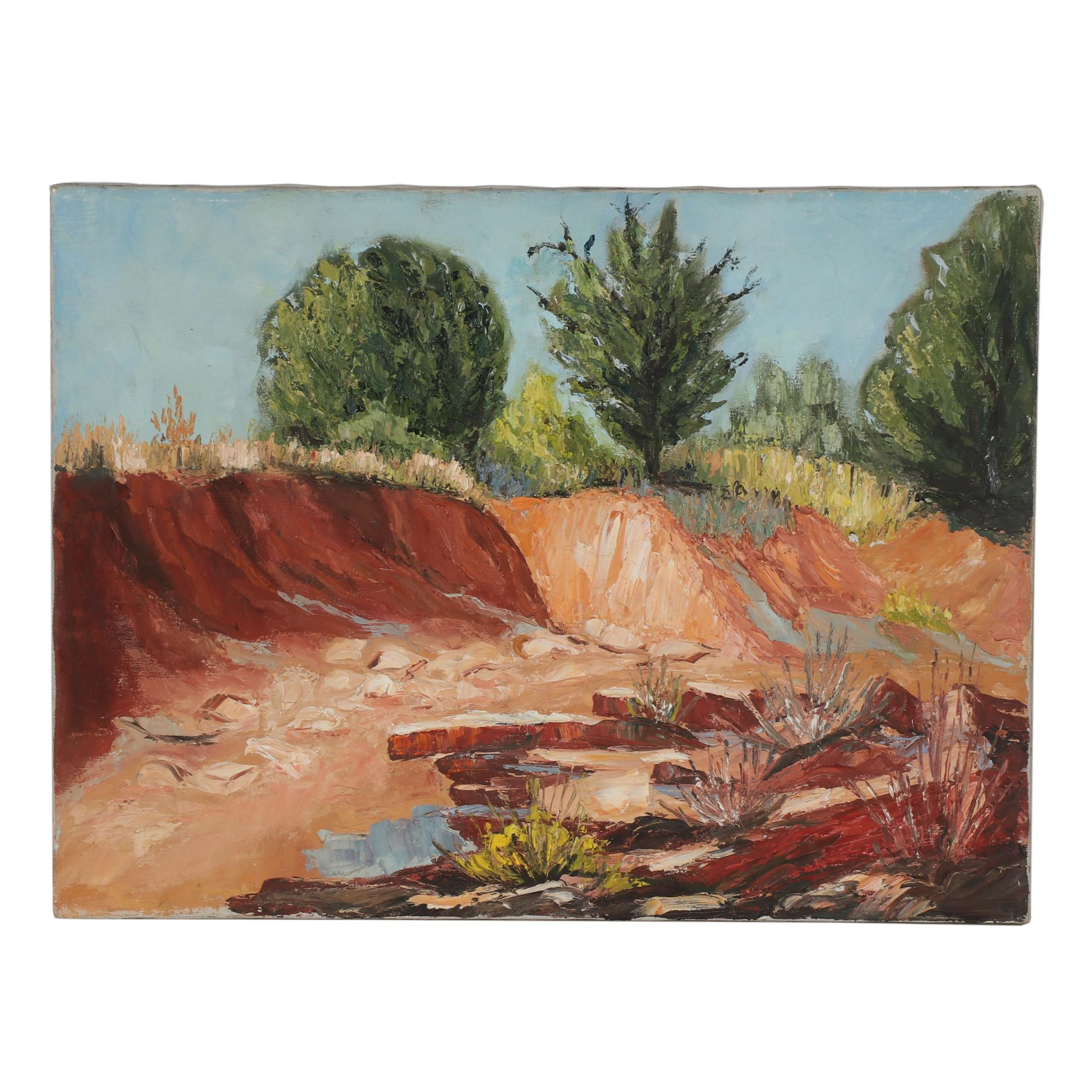 Late 20th Century Oil Painting of a Riverbed