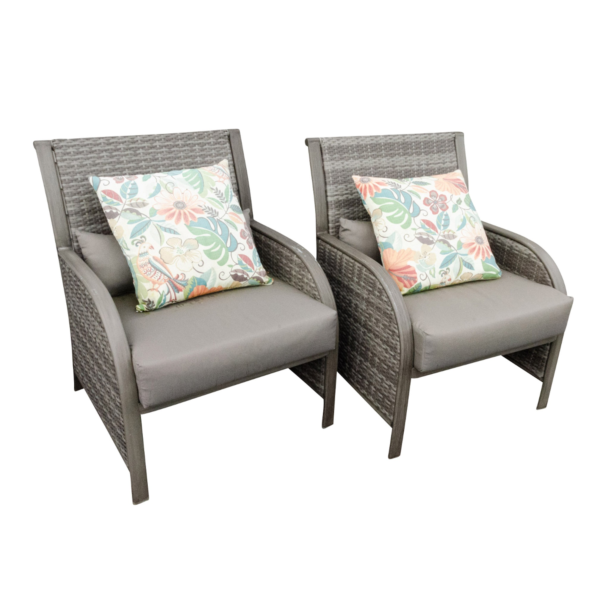 Grey Resin Outdoor Armchairs with Sunbrella Cushions
