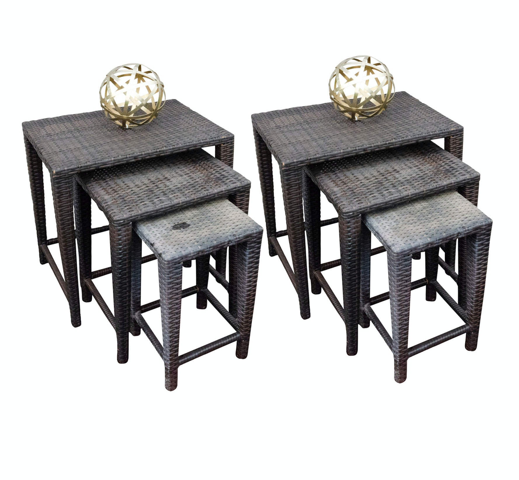 Brown Resin Patio Nesting Tables with Brass Orbs