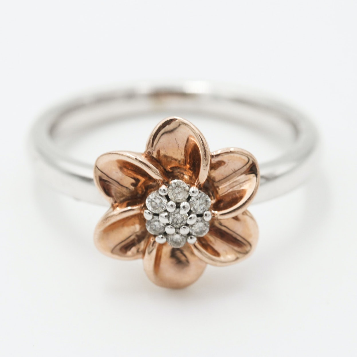 10K White Gold Diamond Flower Ring with Rose Gold Petals