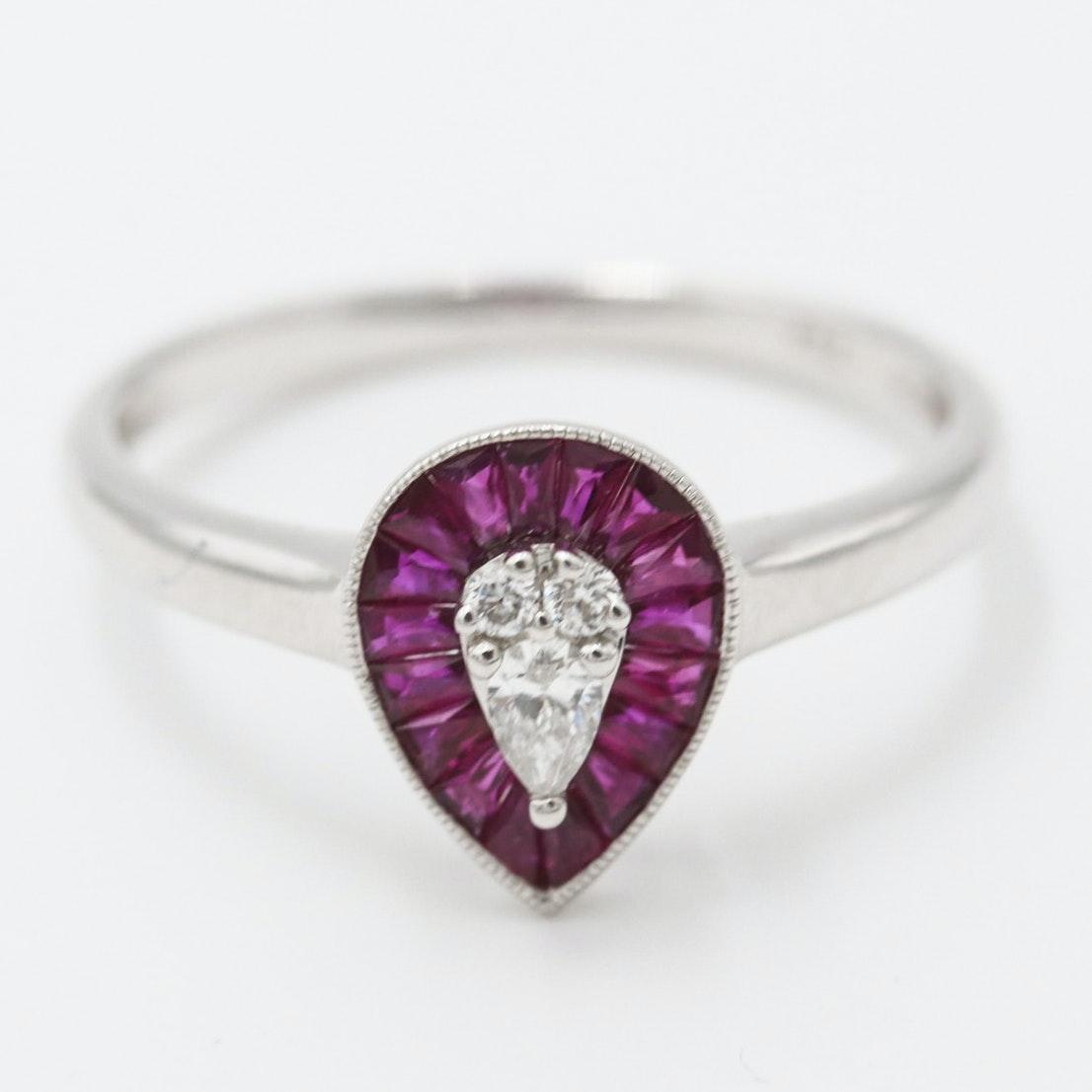 18K White Gold Diamond Ruby Ring