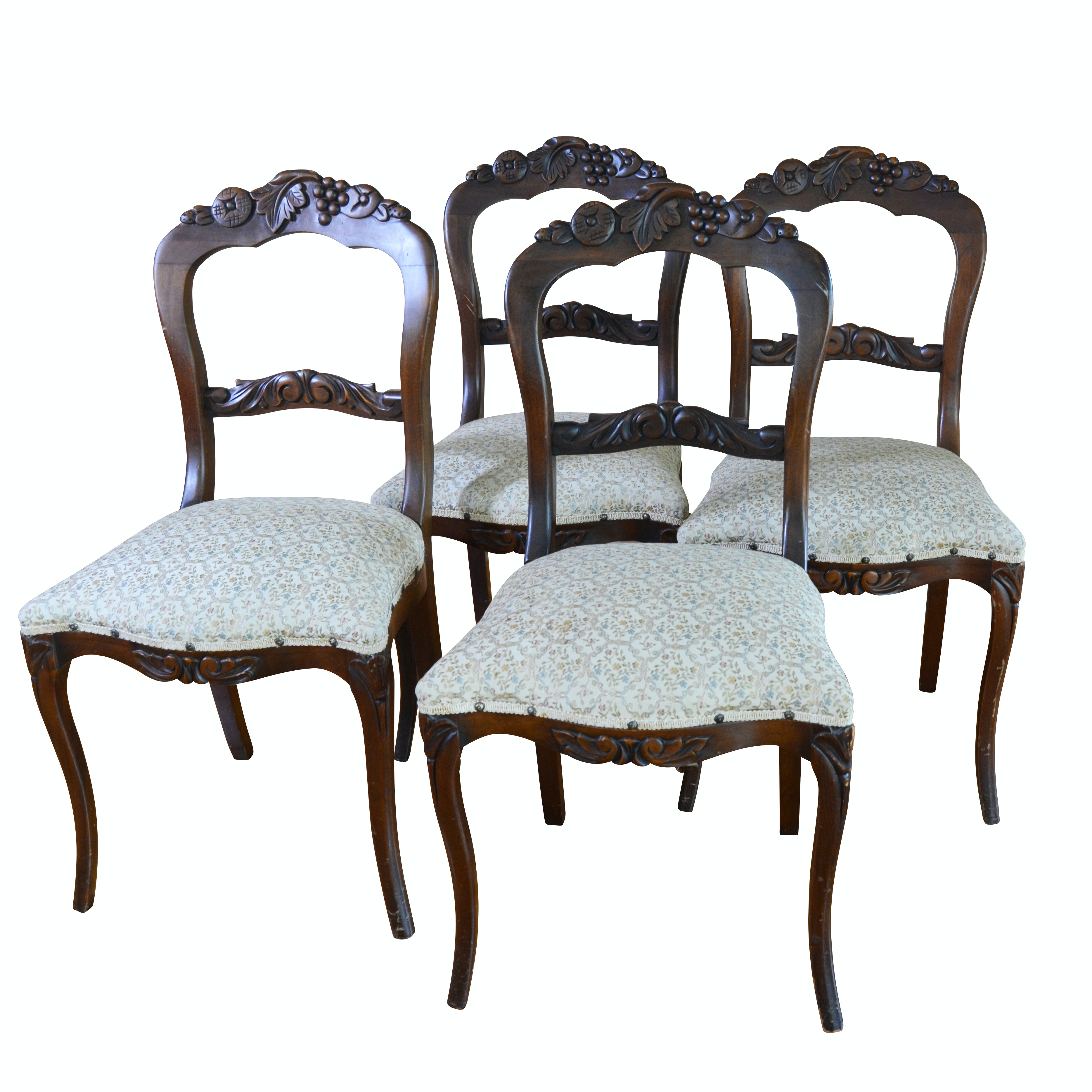 Carved Balloon-Back Mahogany Upholstered Side Chairs, Set of Four, Vintage