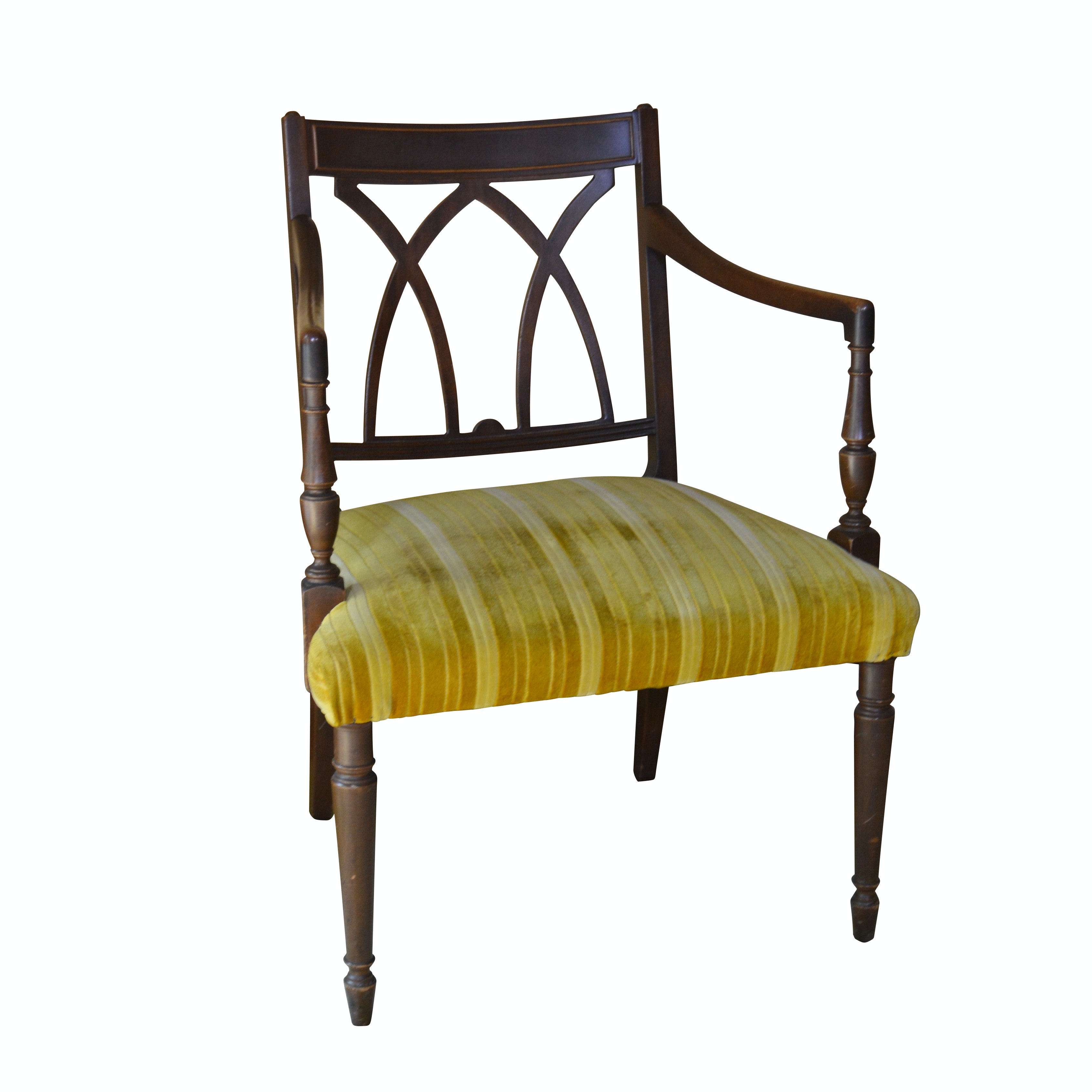 Federal Style Upholstered Mahogany Finish Upholstered Armchair, Mid-20th Century