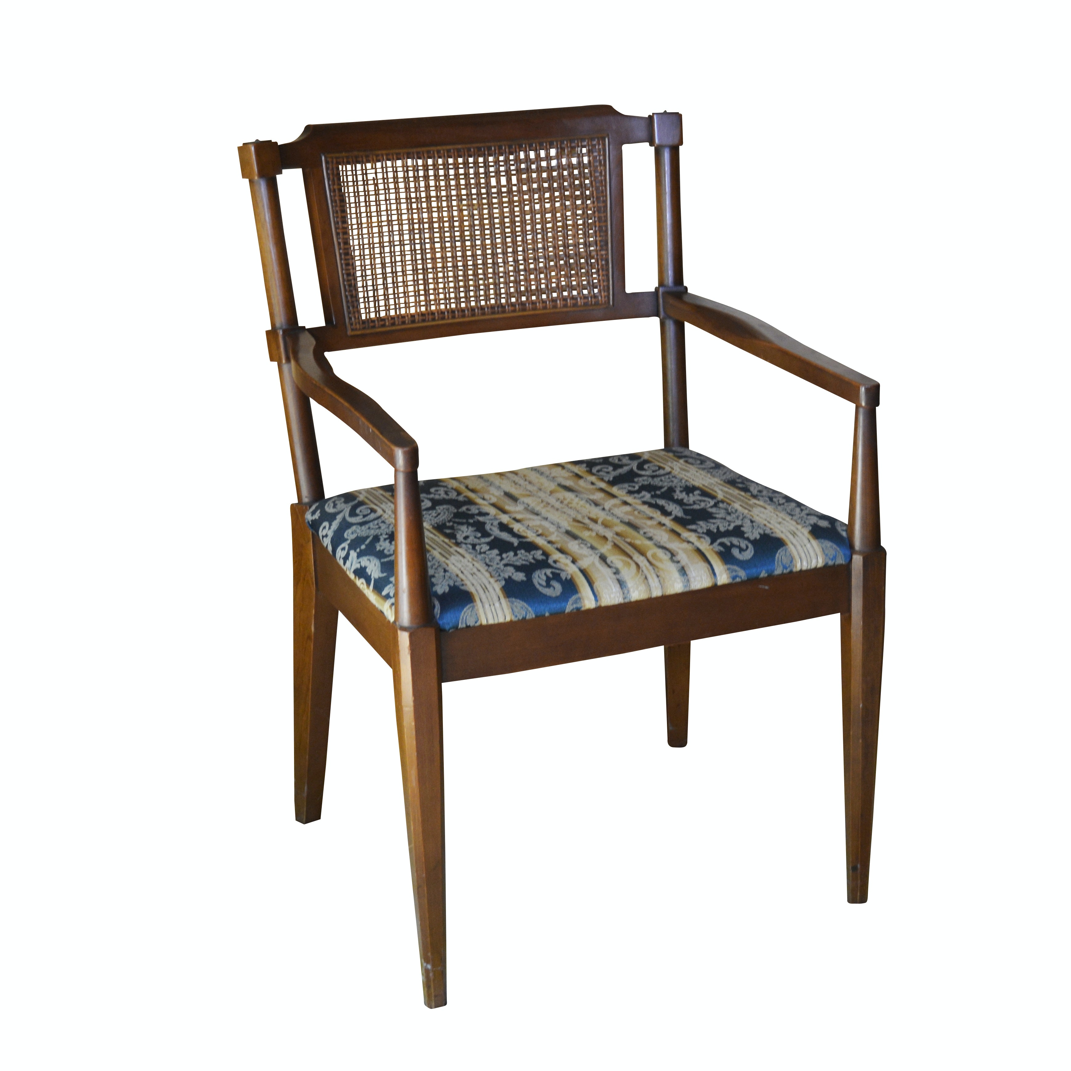 Rattan Back Upholstered Seat, Caned Back Wooden Armchair, Mid-20th Century
