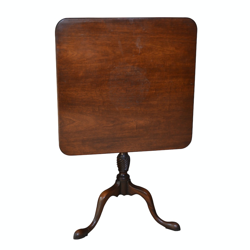 Queen Anne Style Square Tilt-Top Mahogany End Table, Circa 1940s