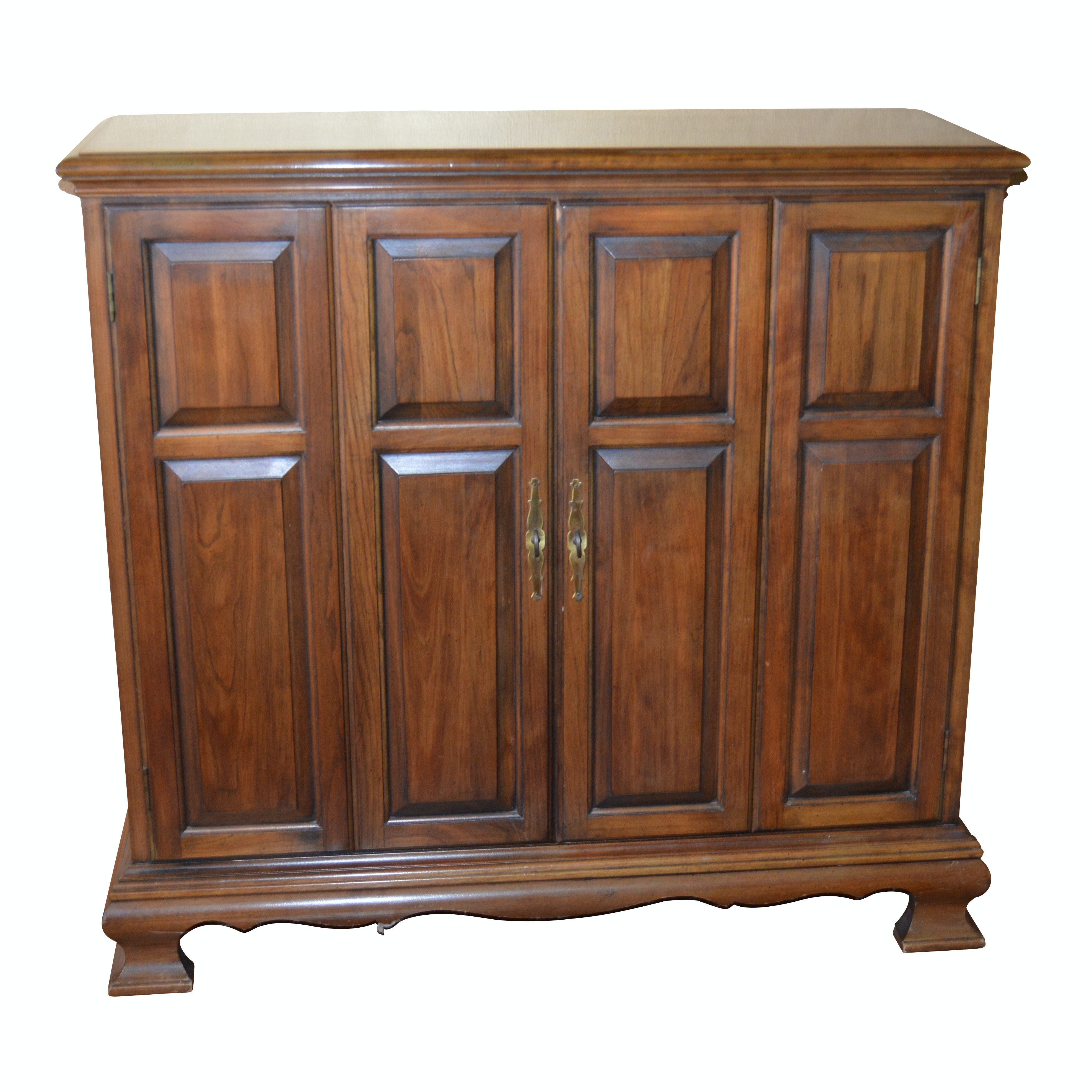 Cherry Cabinet and Butler Fruitwood Wall Mirror, Vintage