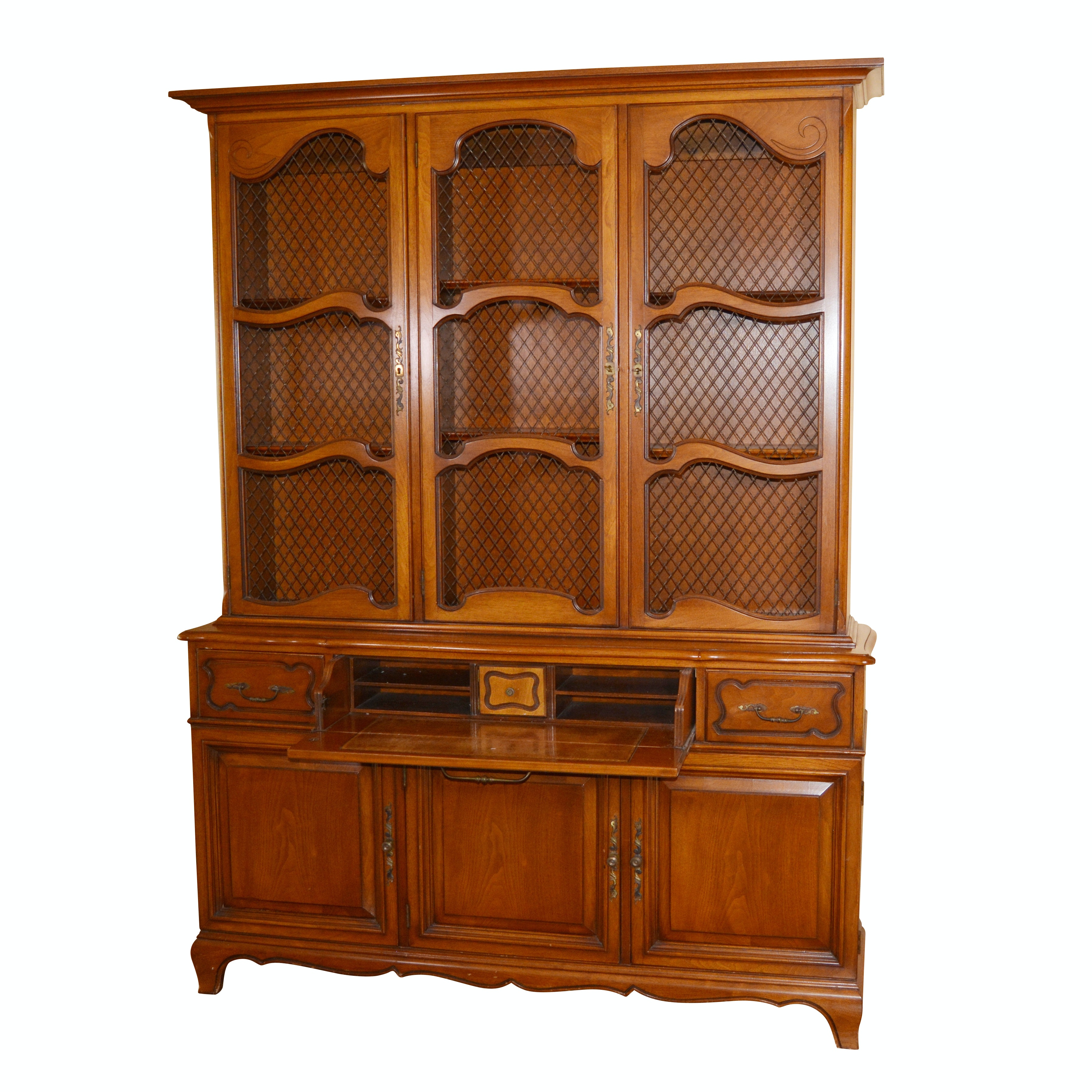 French Provincial Style Fruitwood Cabinet with Secretary, Mid-20th Century