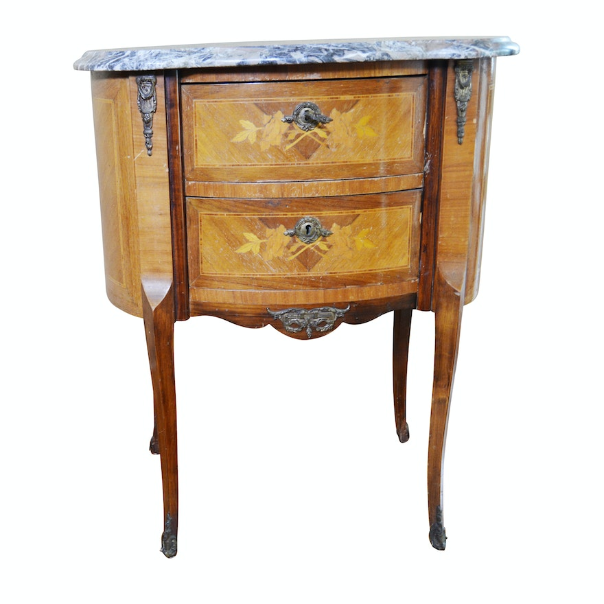 Louis XV Style Marquetry, Mahogany and Gilt Metal Mounted Table, 20th Century