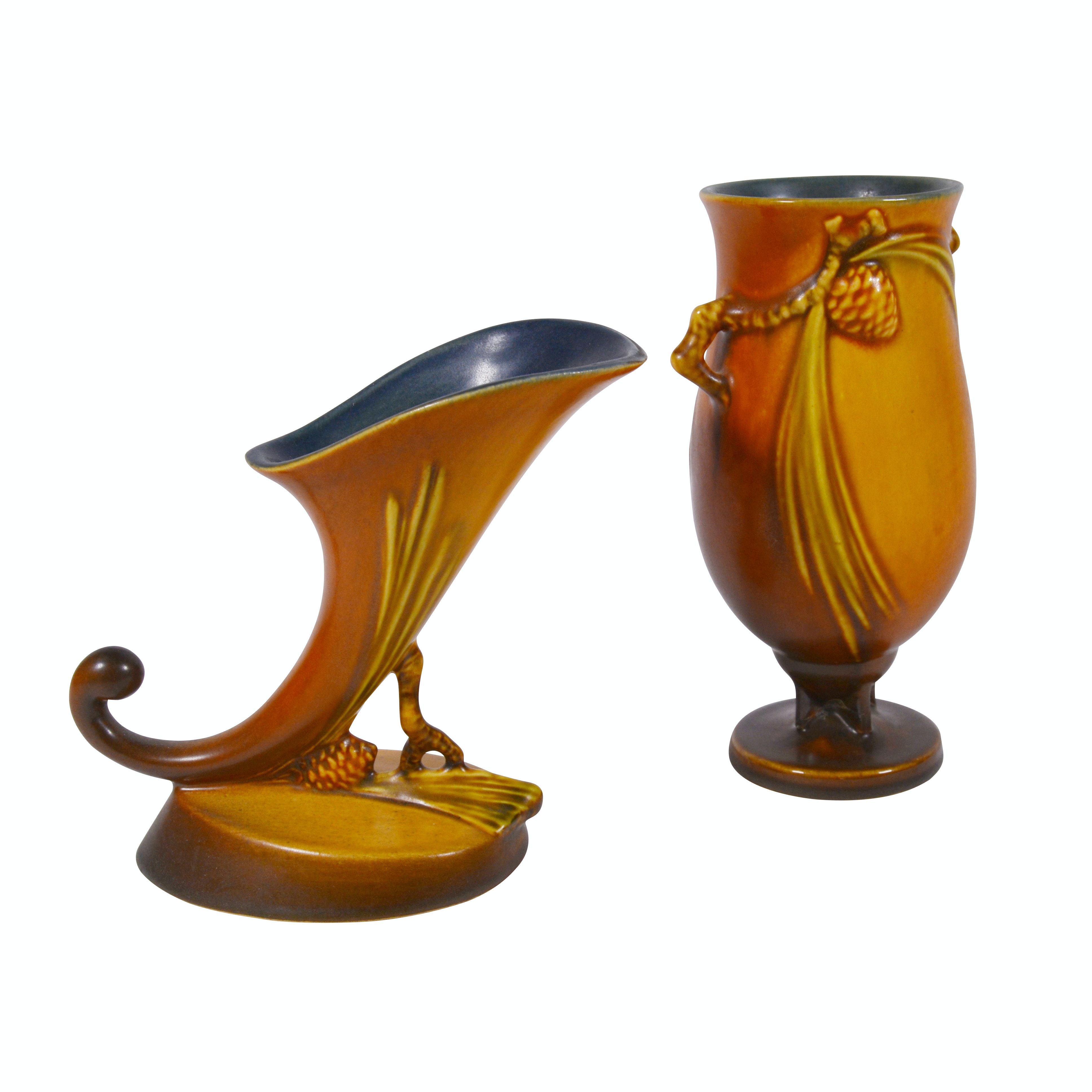 """Roseville Pottery """"Pine Cone"""" Footed Vase and Cornucopia Vase, 1930s"""