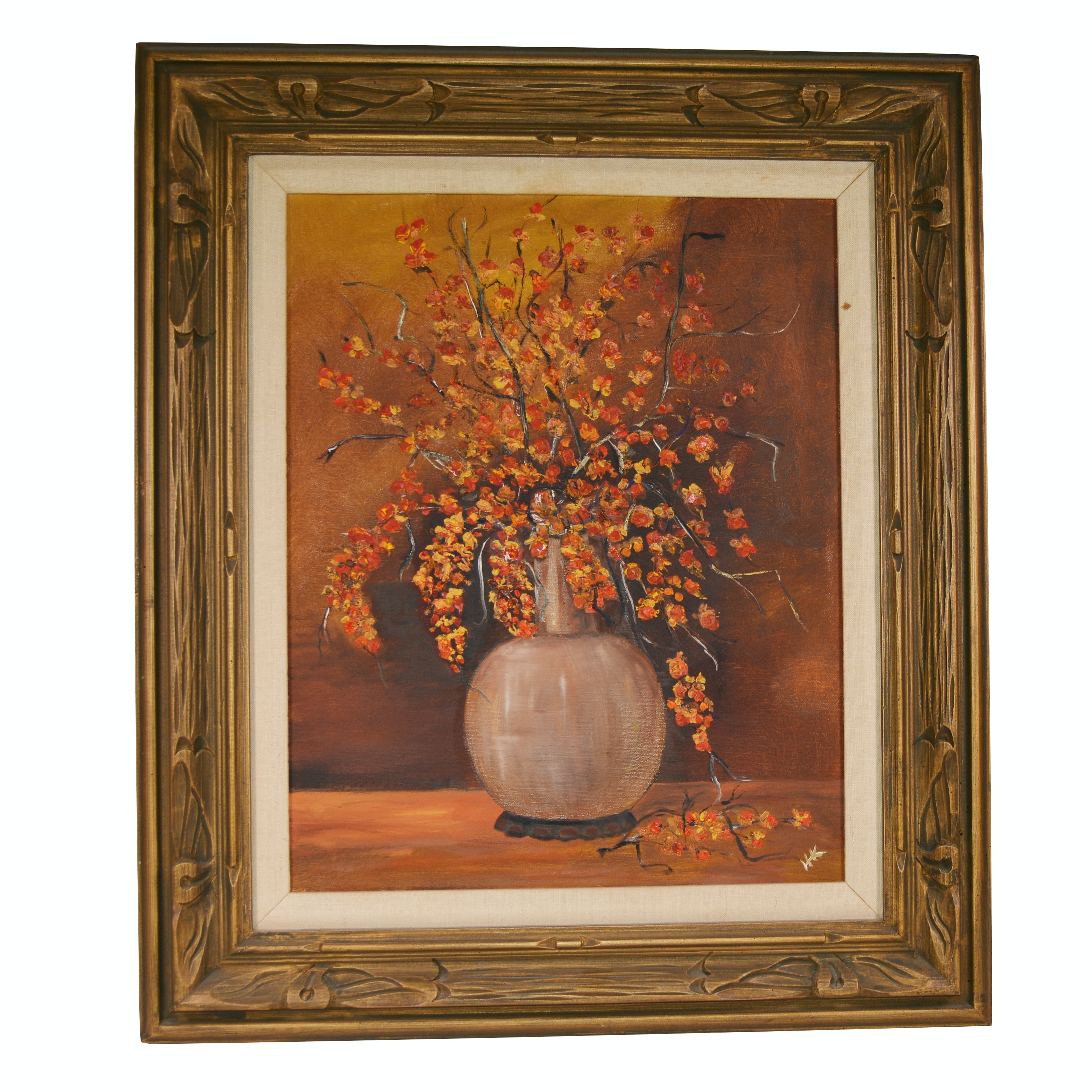 20th Century Floral Still Life Oil Painting