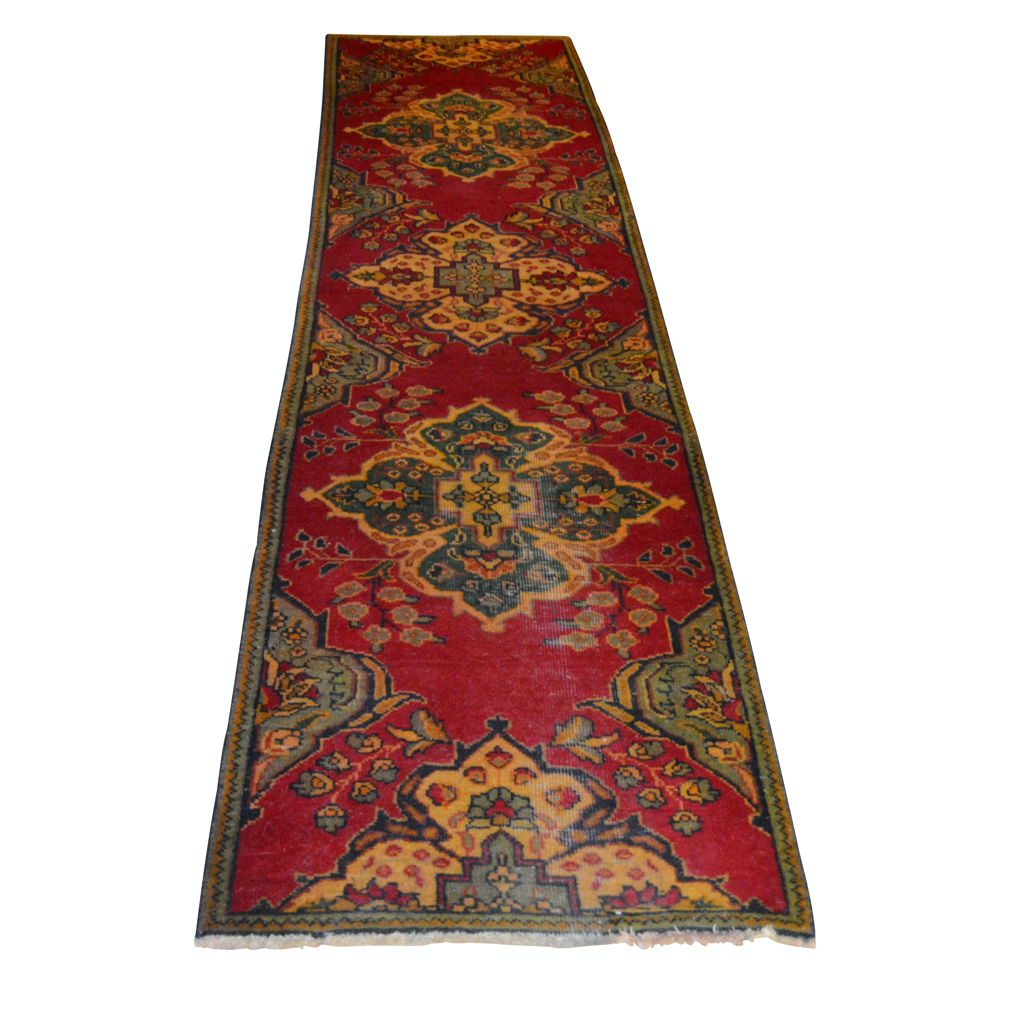 Hand-Knotted Persian Tabriz Style Wool Carpet Runner