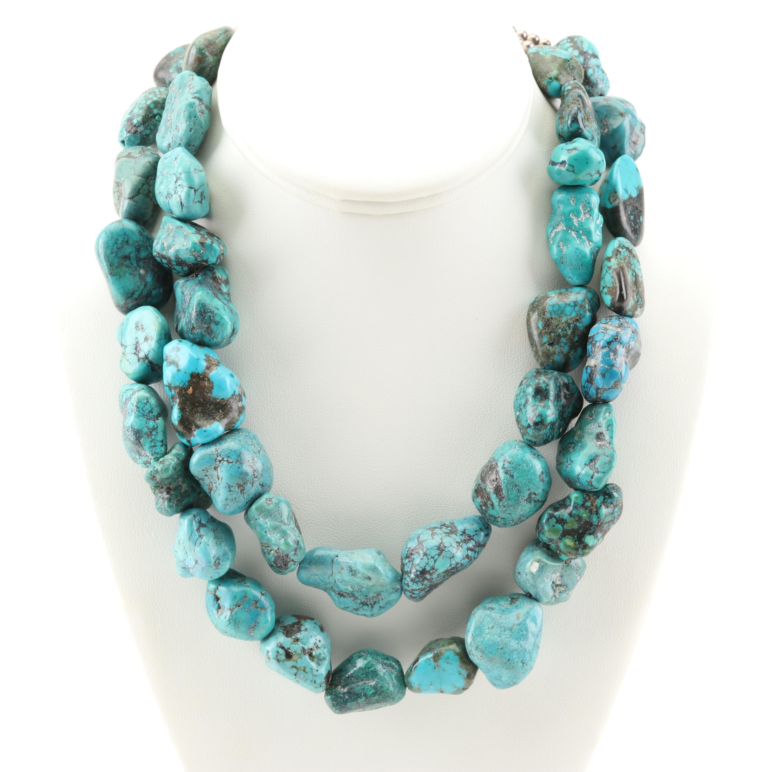 Sterling Silver Tumbled Turquoise Bead Necklace