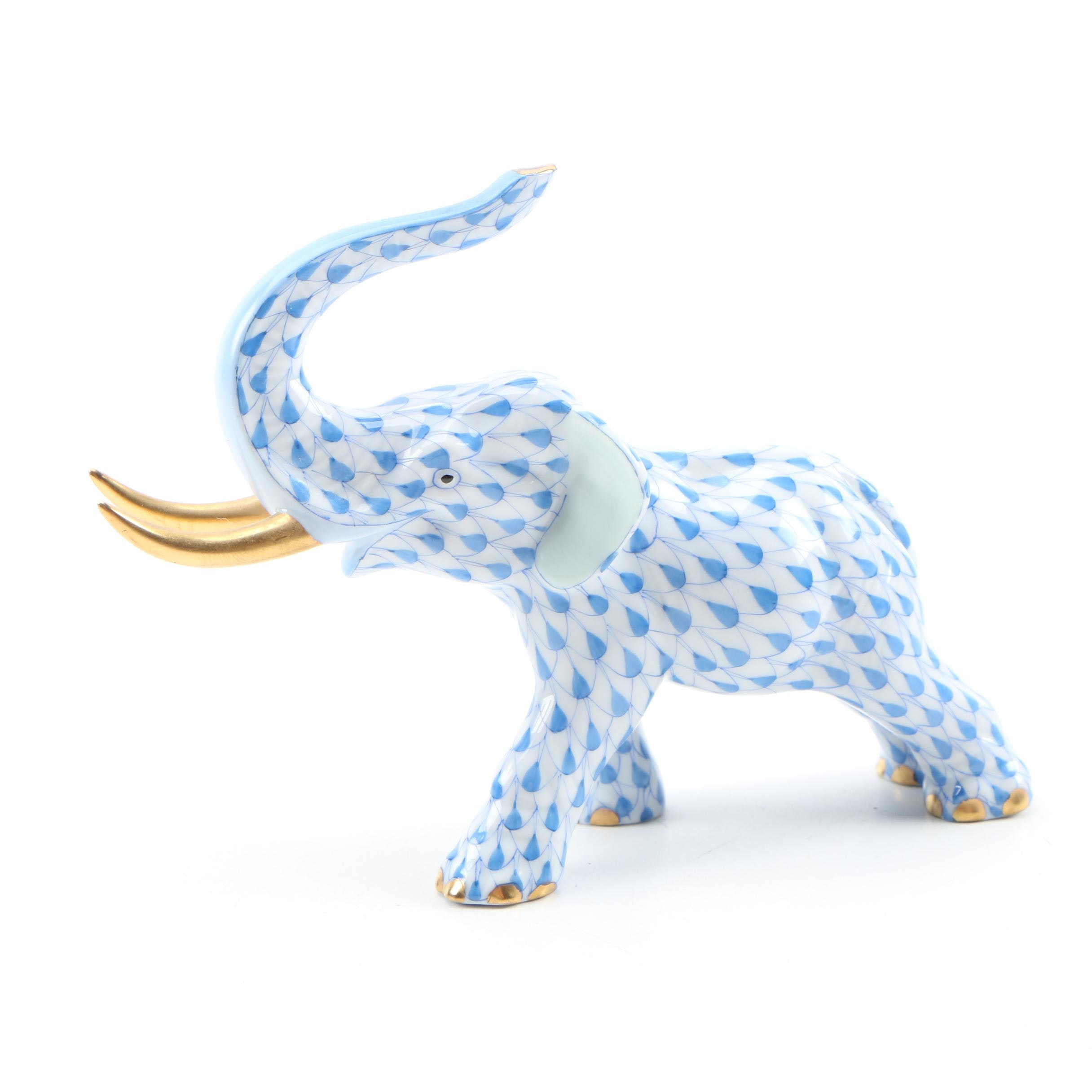 "Herend Blue Fishnet ""Elephant with Tusks"" Porcelain Figurine, 2000"