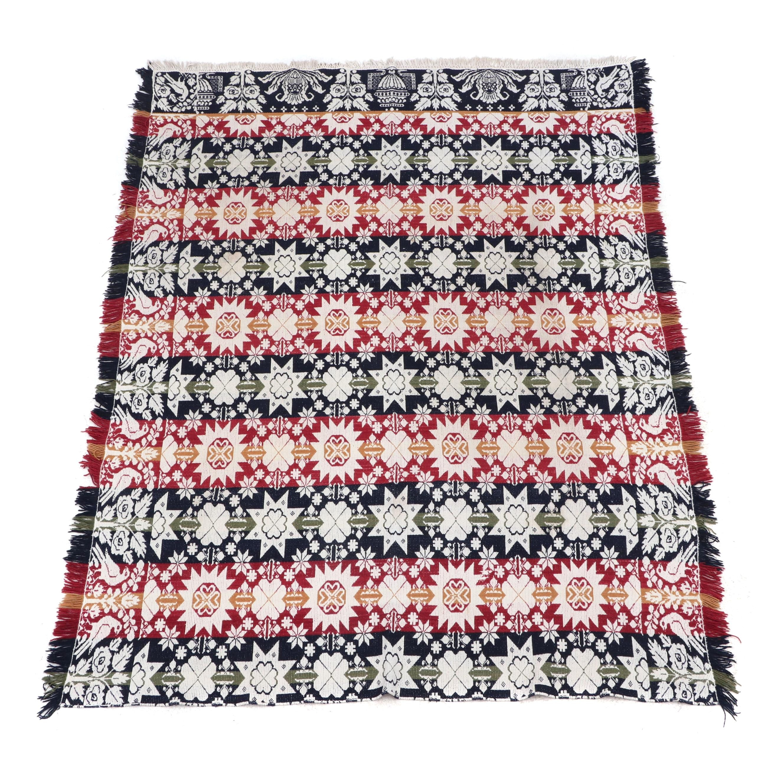 Multicolored Wool Blend Throw with Floral and Bird Motif