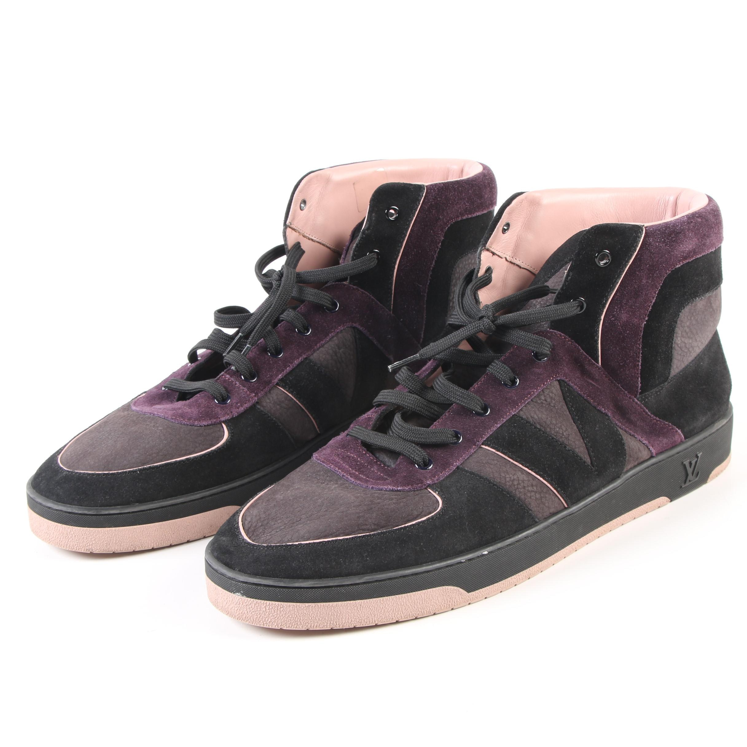 Men's Louis Vuitton Black, Purple and Blush Suede and Leather High Top Sneakers