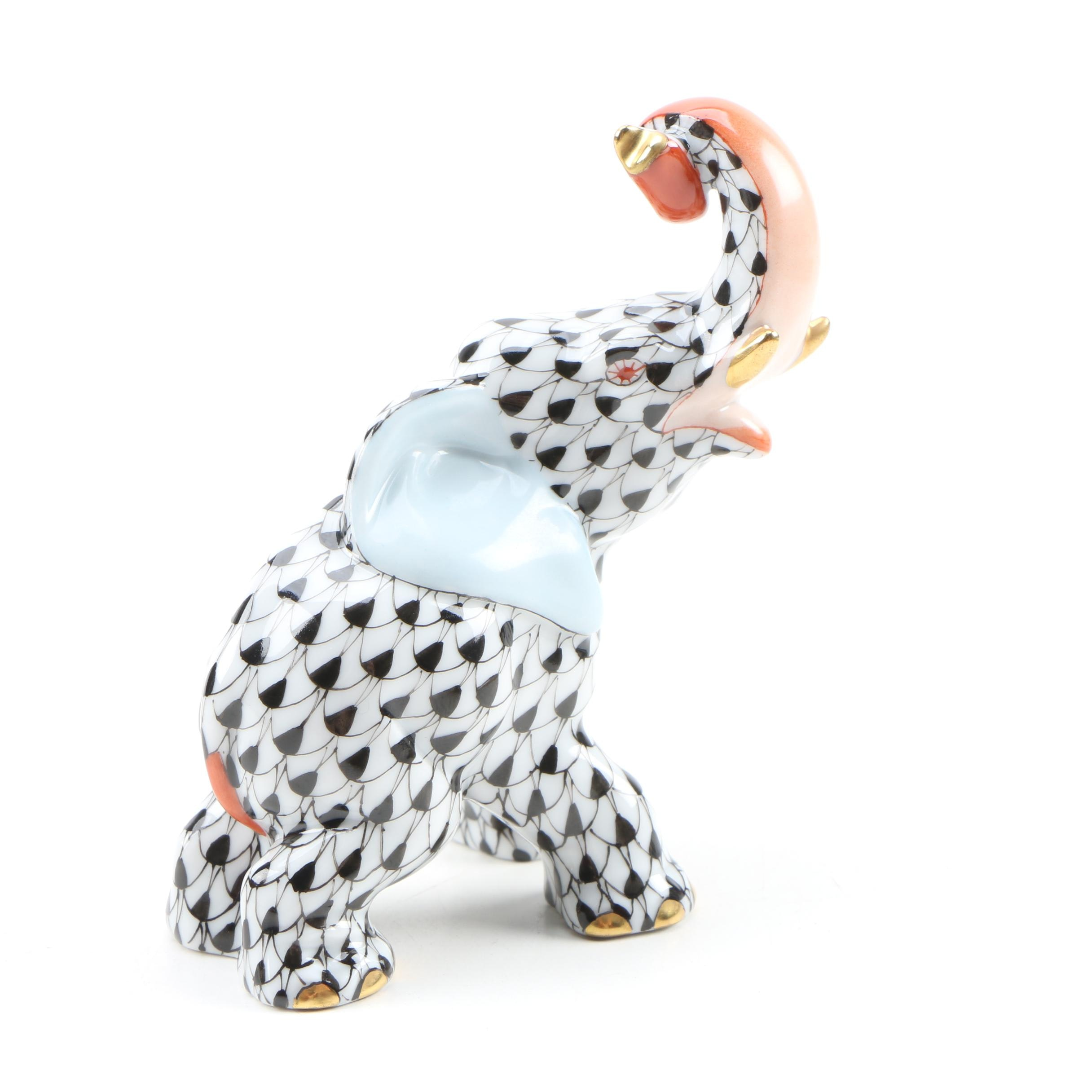 "Herend Black Fishnet with Terracotta ""Elephant"" Porcelain Figurine, April 2000"