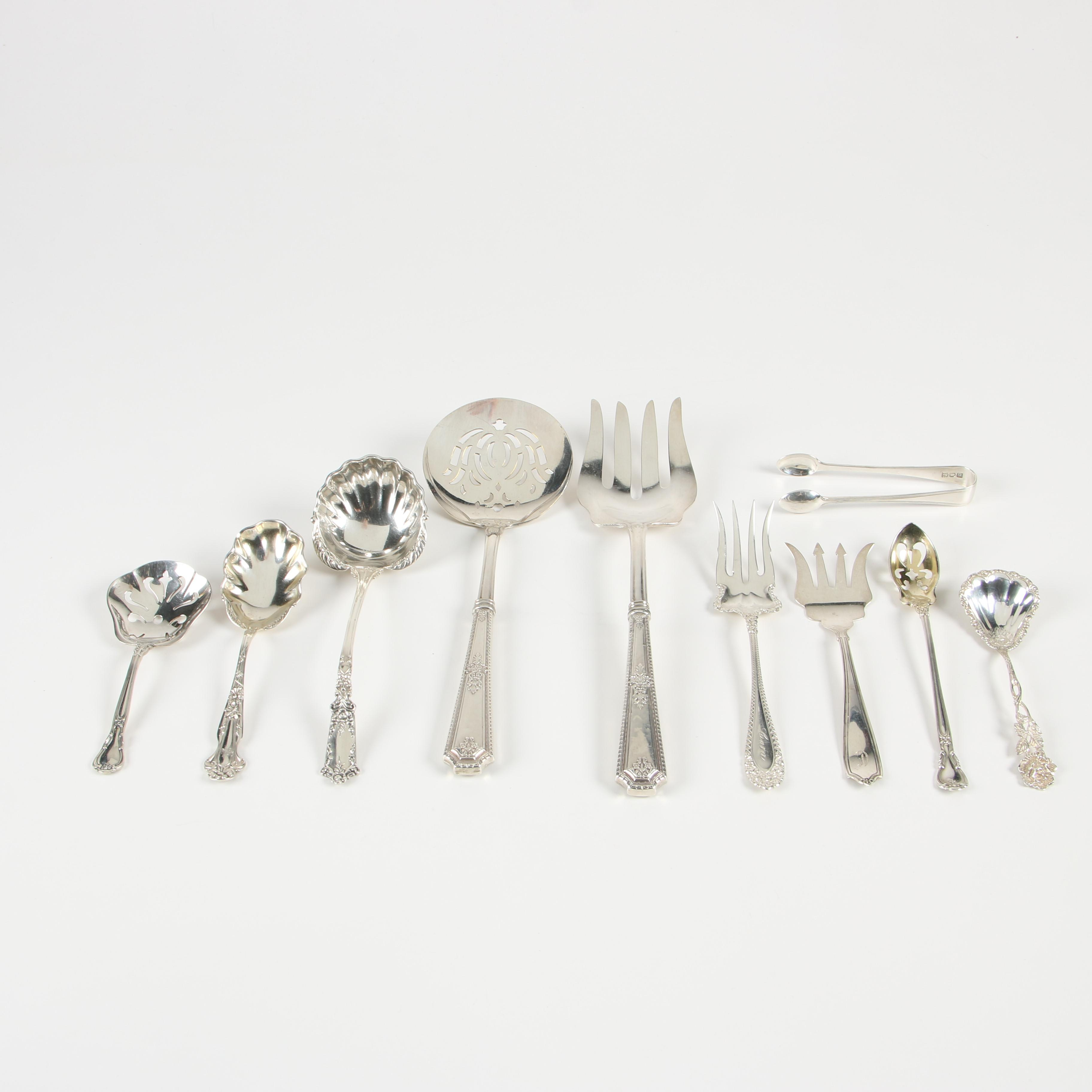 American, English and German Sterling Silver Serving Utensils