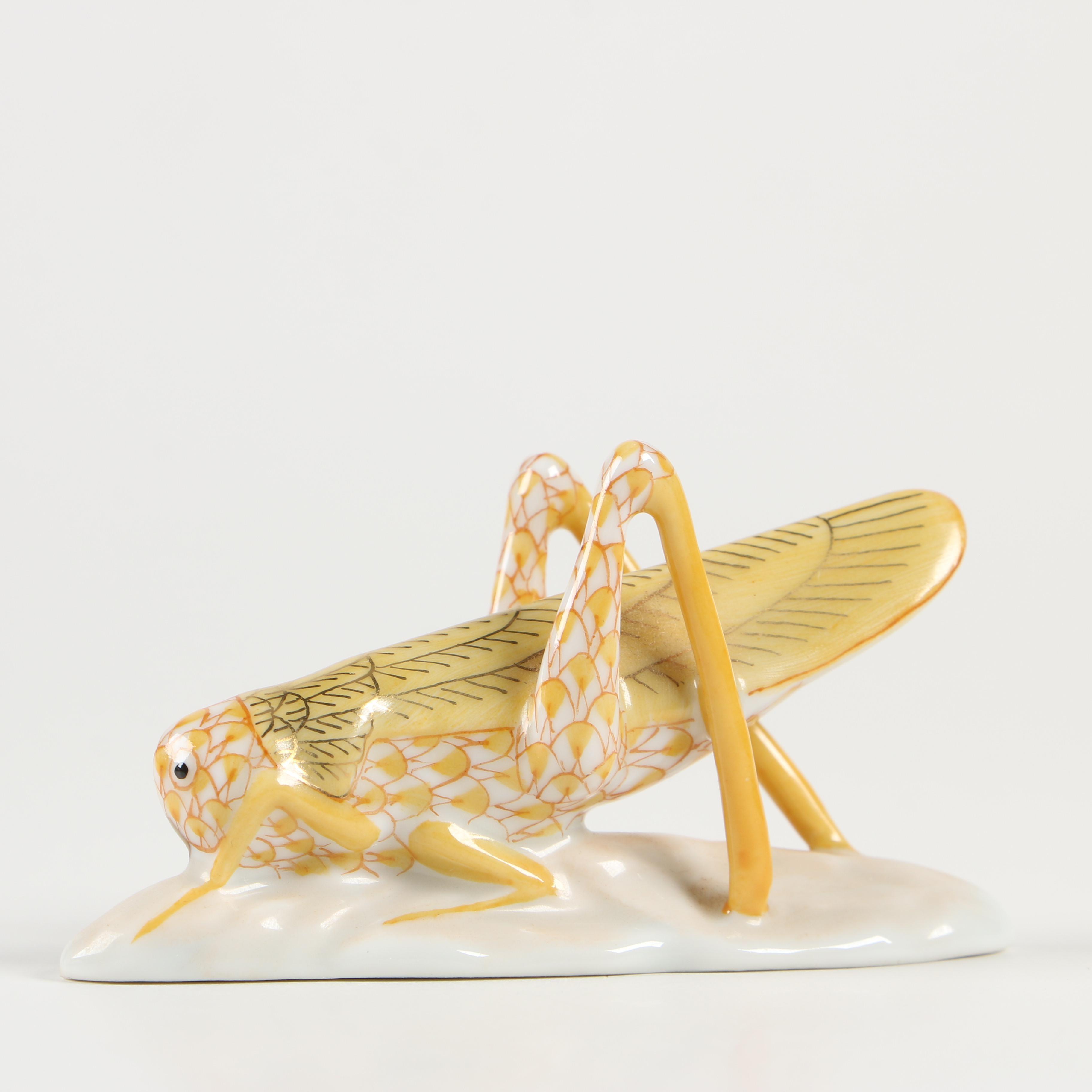 "Herend Butterscotch Fishnet ""Grasshopper"" Porcelain Figurine, January 1997"