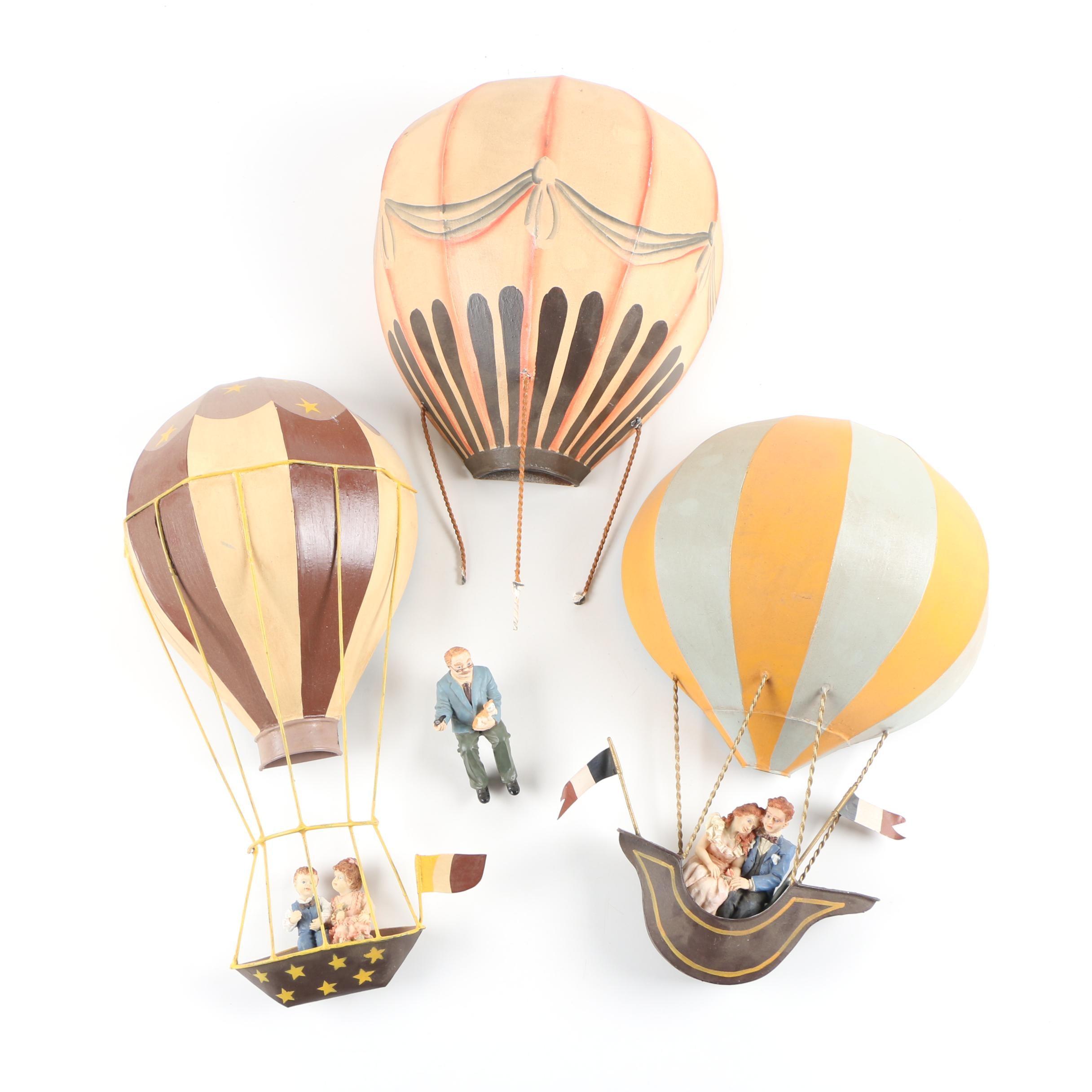 Tole Hot Air Balloon Wall Décor