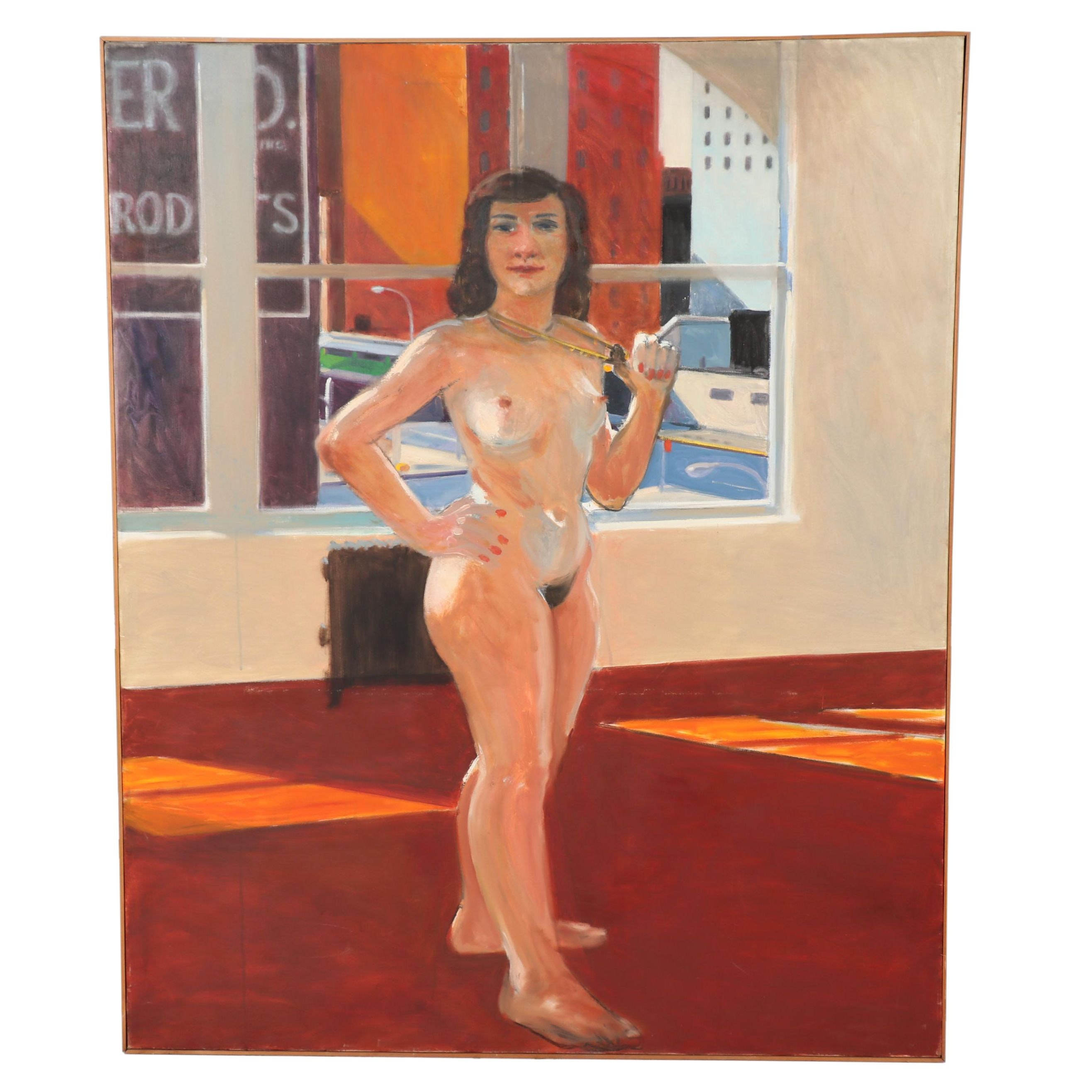 Peter Rappoli Monumental Oil Painting of Female Nude