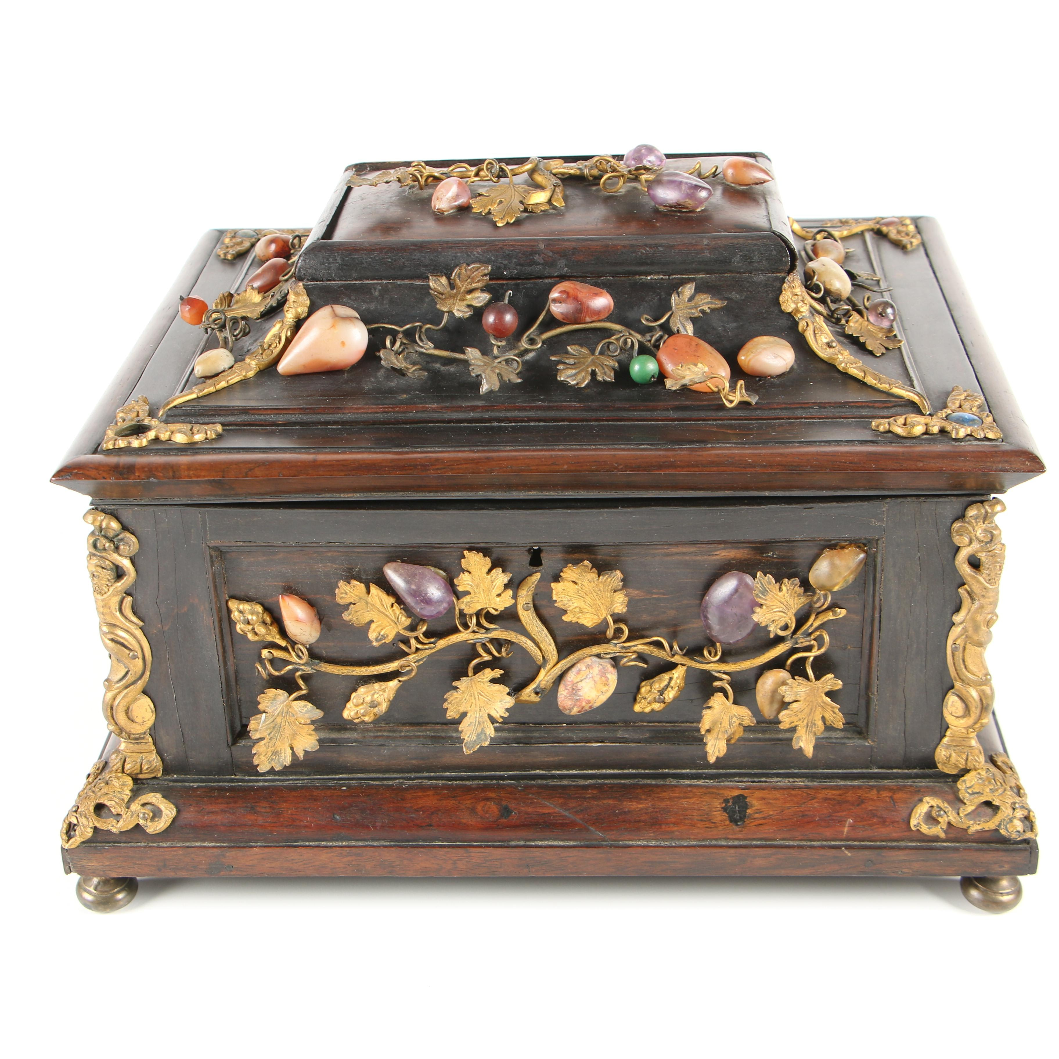 Gilt Metal and Gemstone Mounted Rosewood Jewelry Box