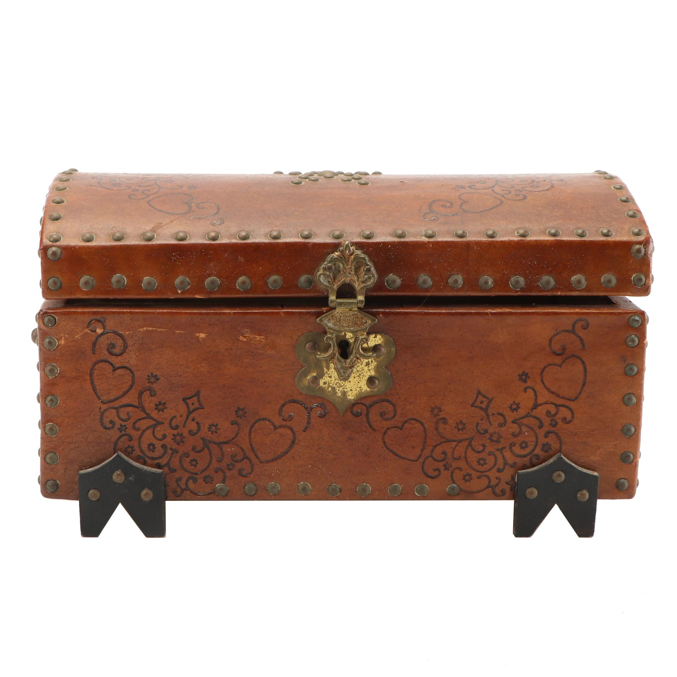 Small Leather Chest with Metal Accents, Vintage
