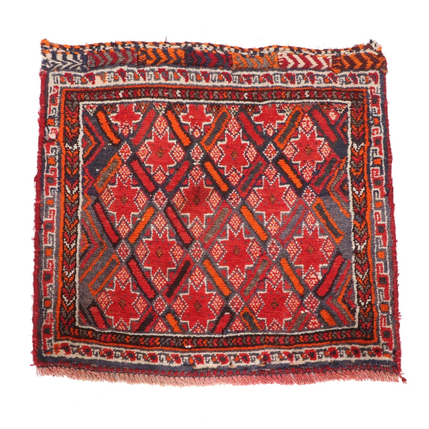 Hand-Knotted Persian Wool Bag Face