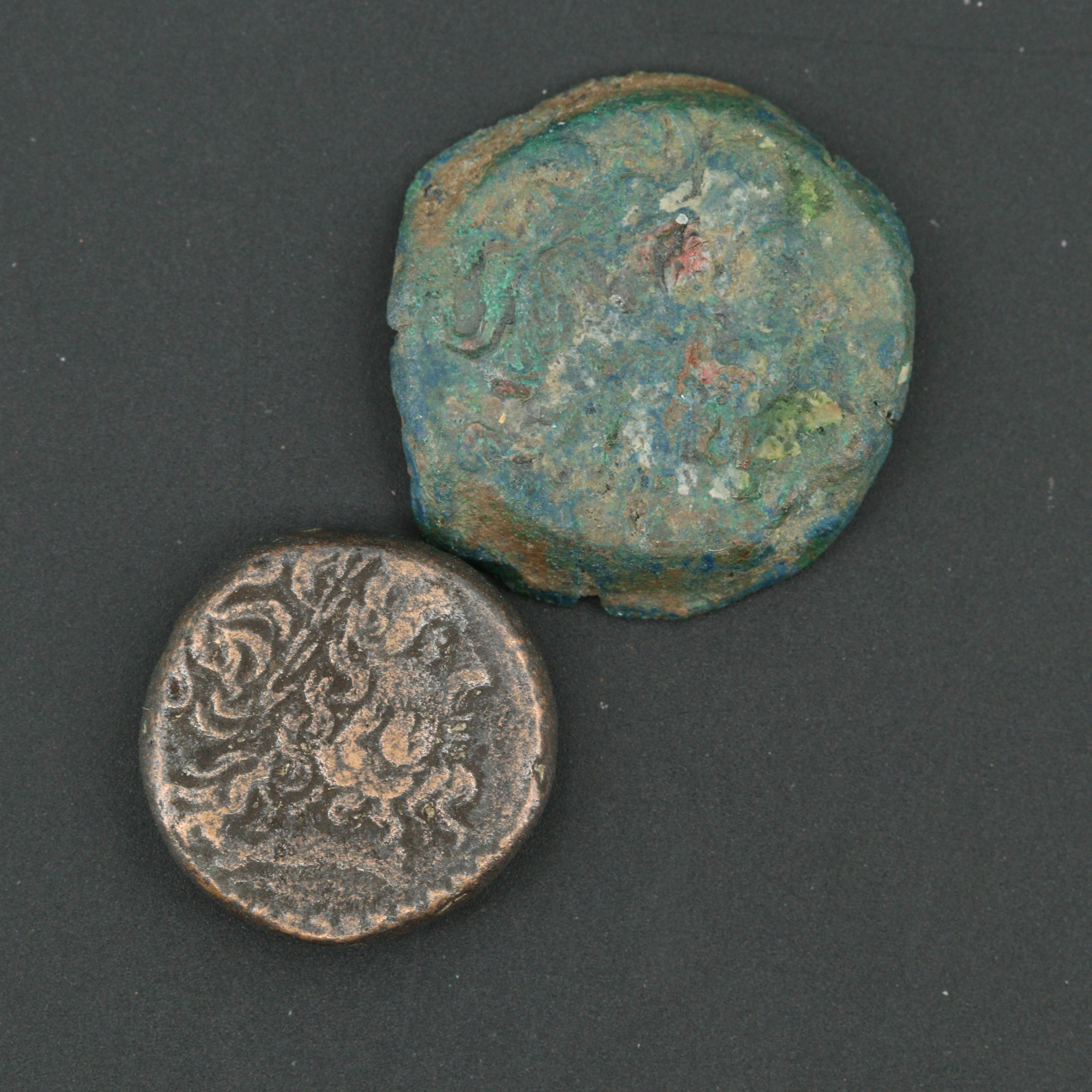 Two Ancient Egypt Bronze Ptolemy VI Coins