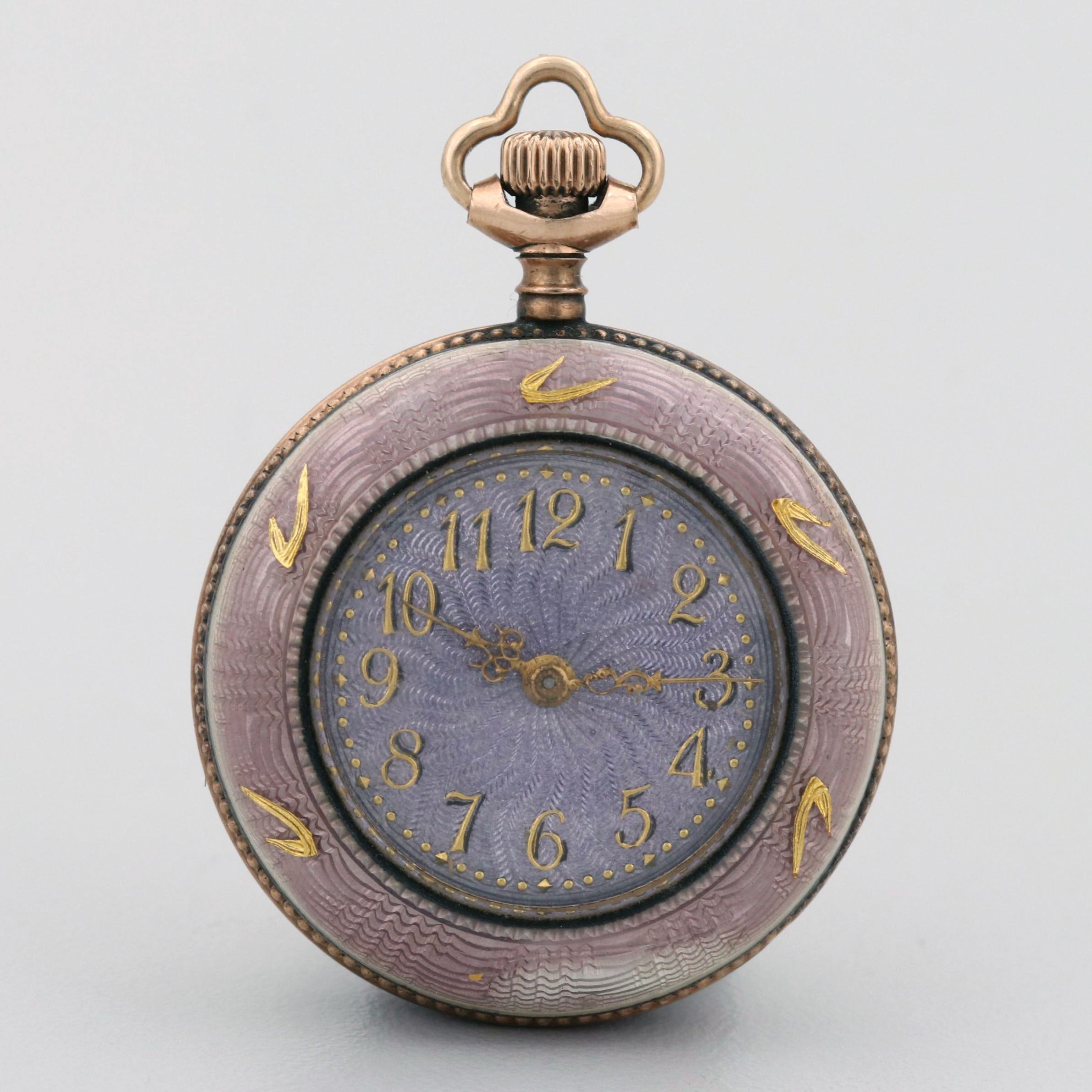 Vintage Gold Wash on Sterling Silver and Enamel Open Face Pocket Watch