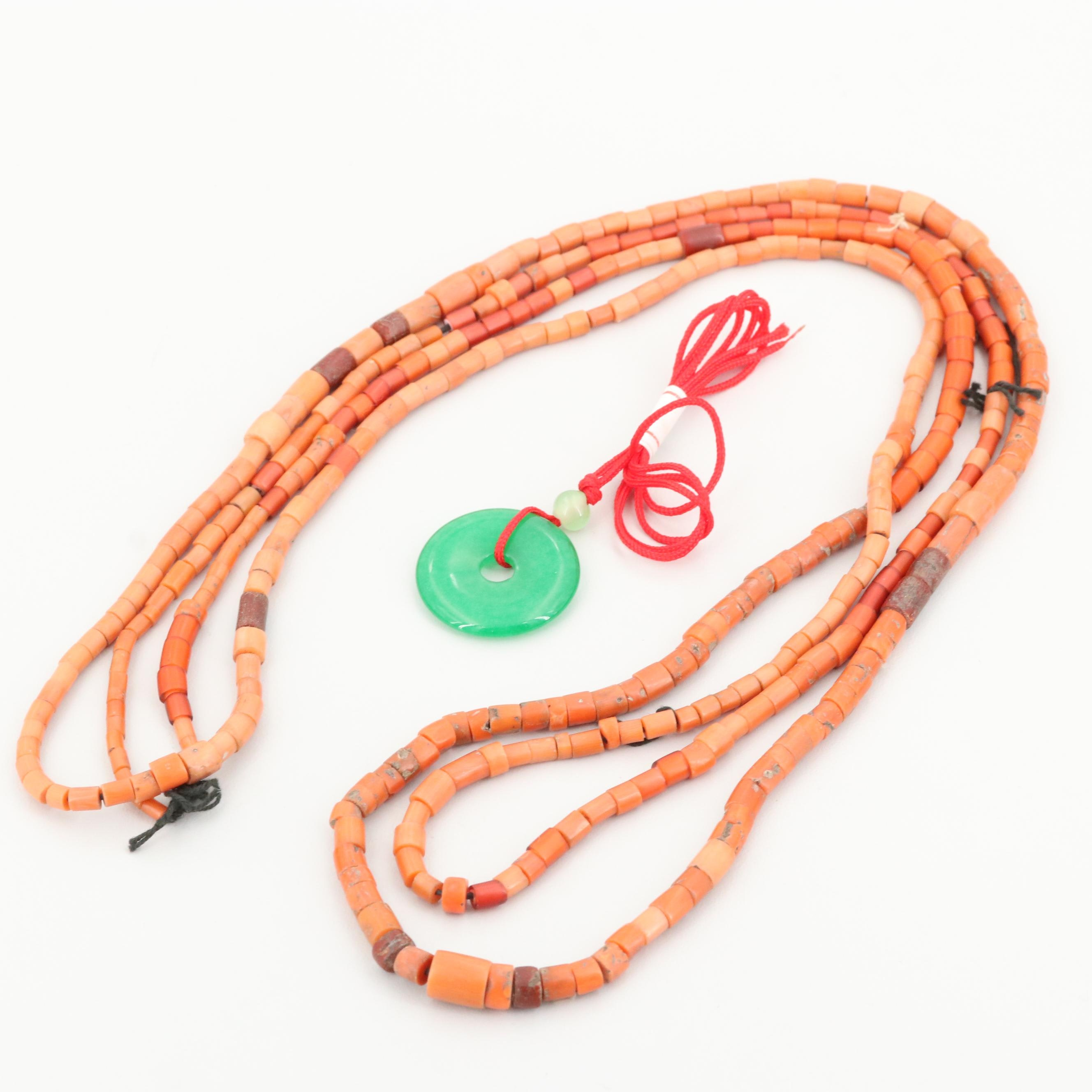 Coral Bead Necklace and Jadeite Necklace