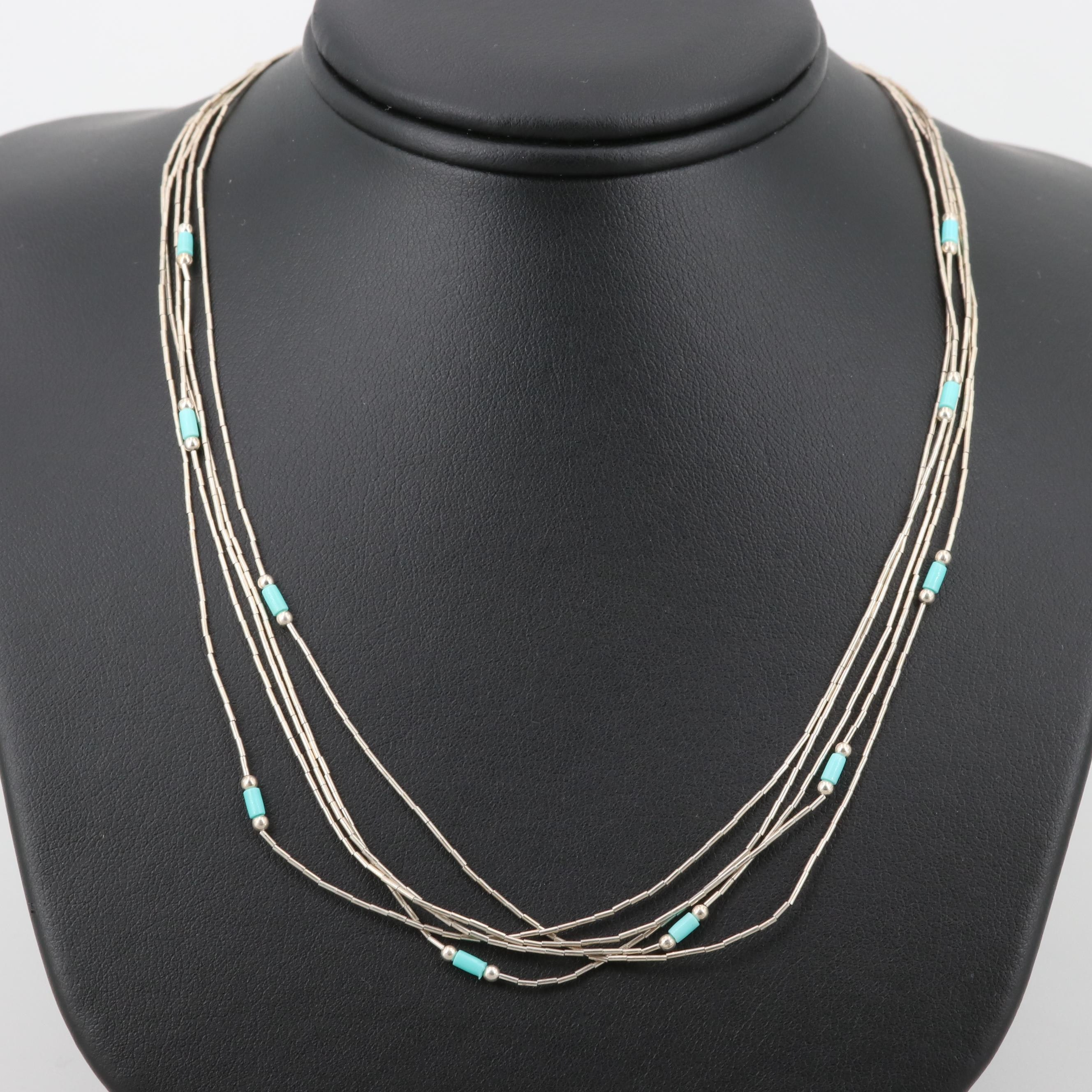 Southwestern Style Sterling Imitation Turquoise Liquid Silver Necklace
