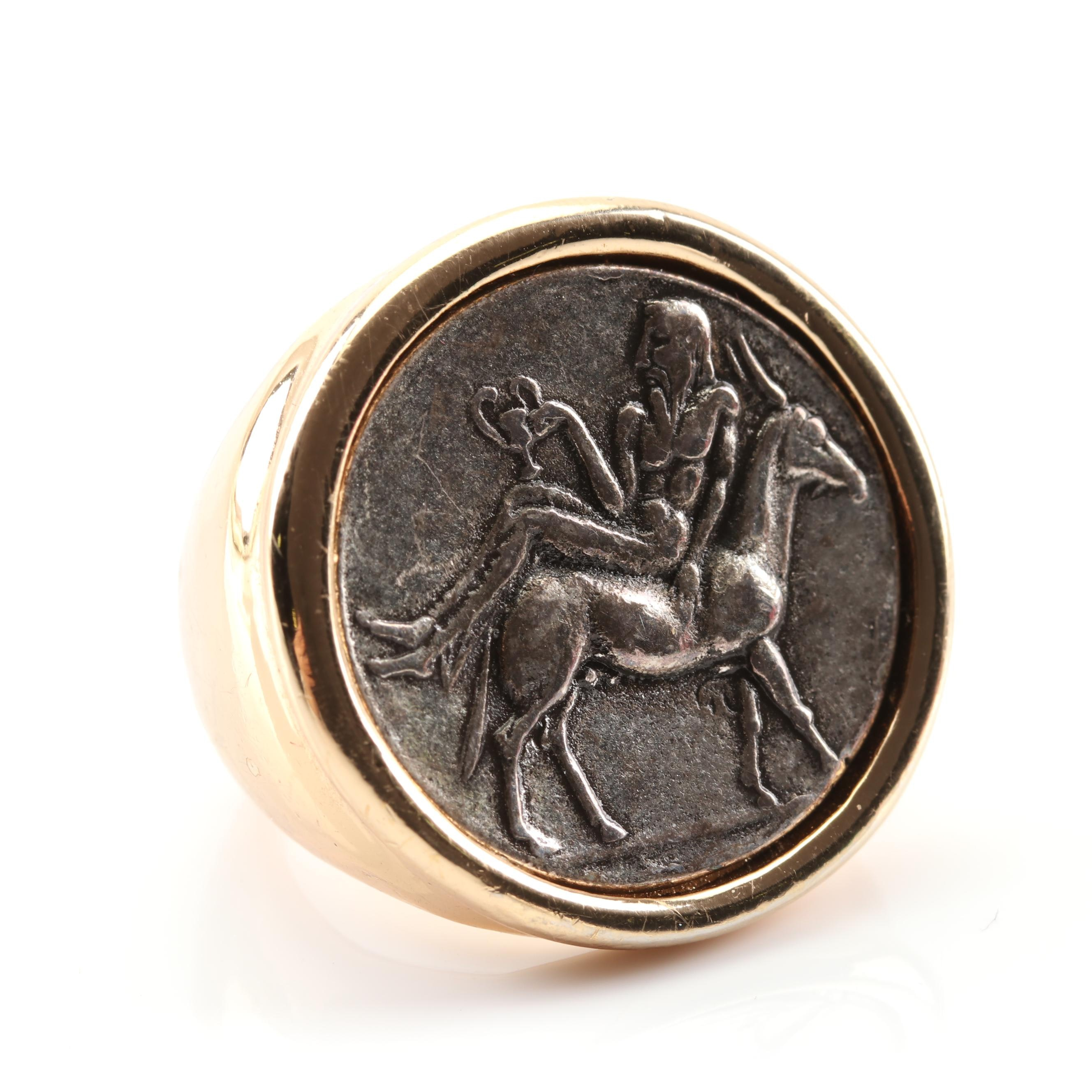 Jenny Bird Gold Tone Ring with Inset Coin