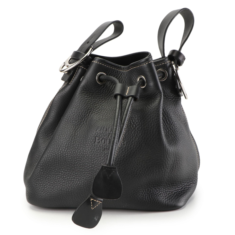 Dooney & Bourke Black Pebbled Leather Drawstring Bucket Bag