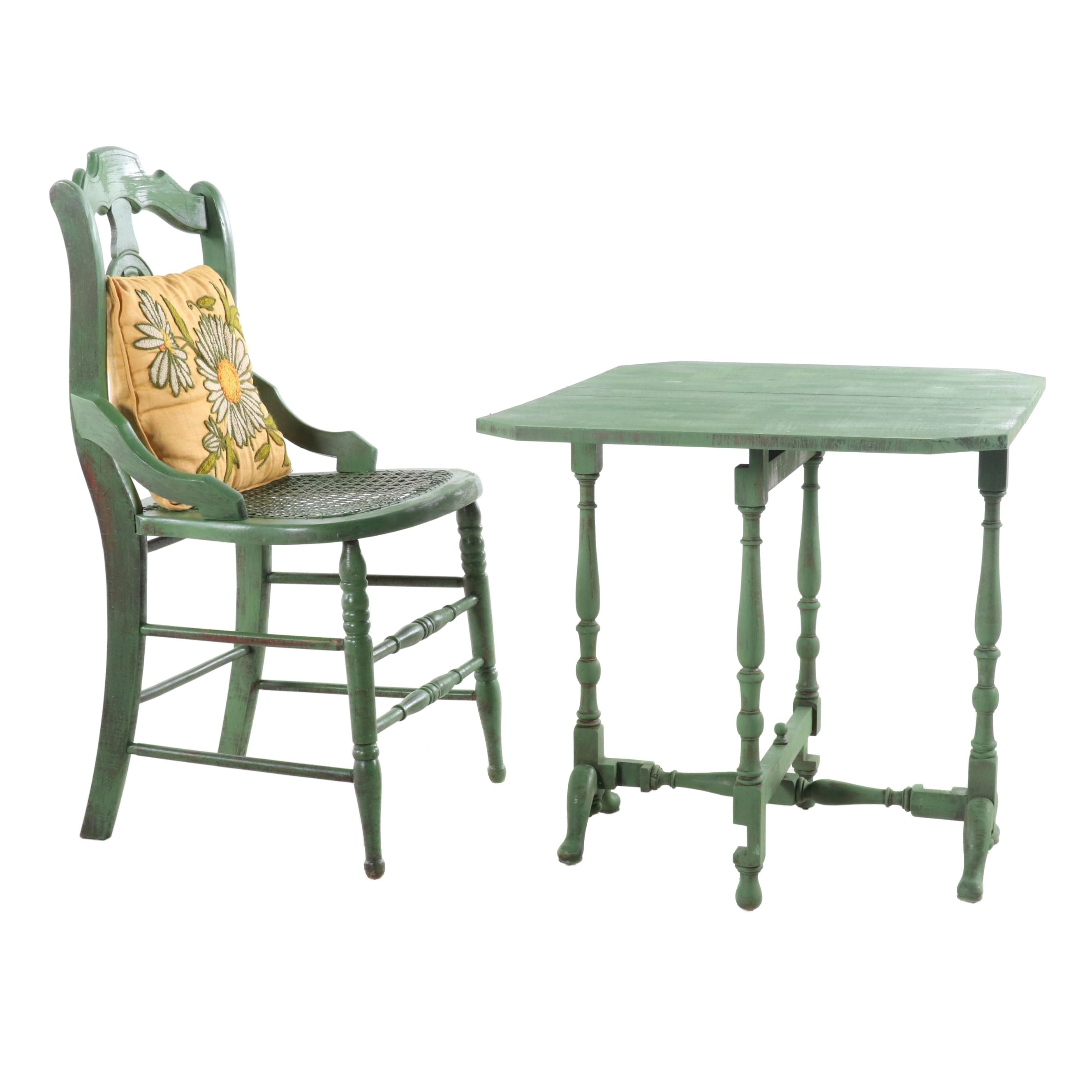 Painted Caned Chair and Gate Leg Table, Early 20th Century