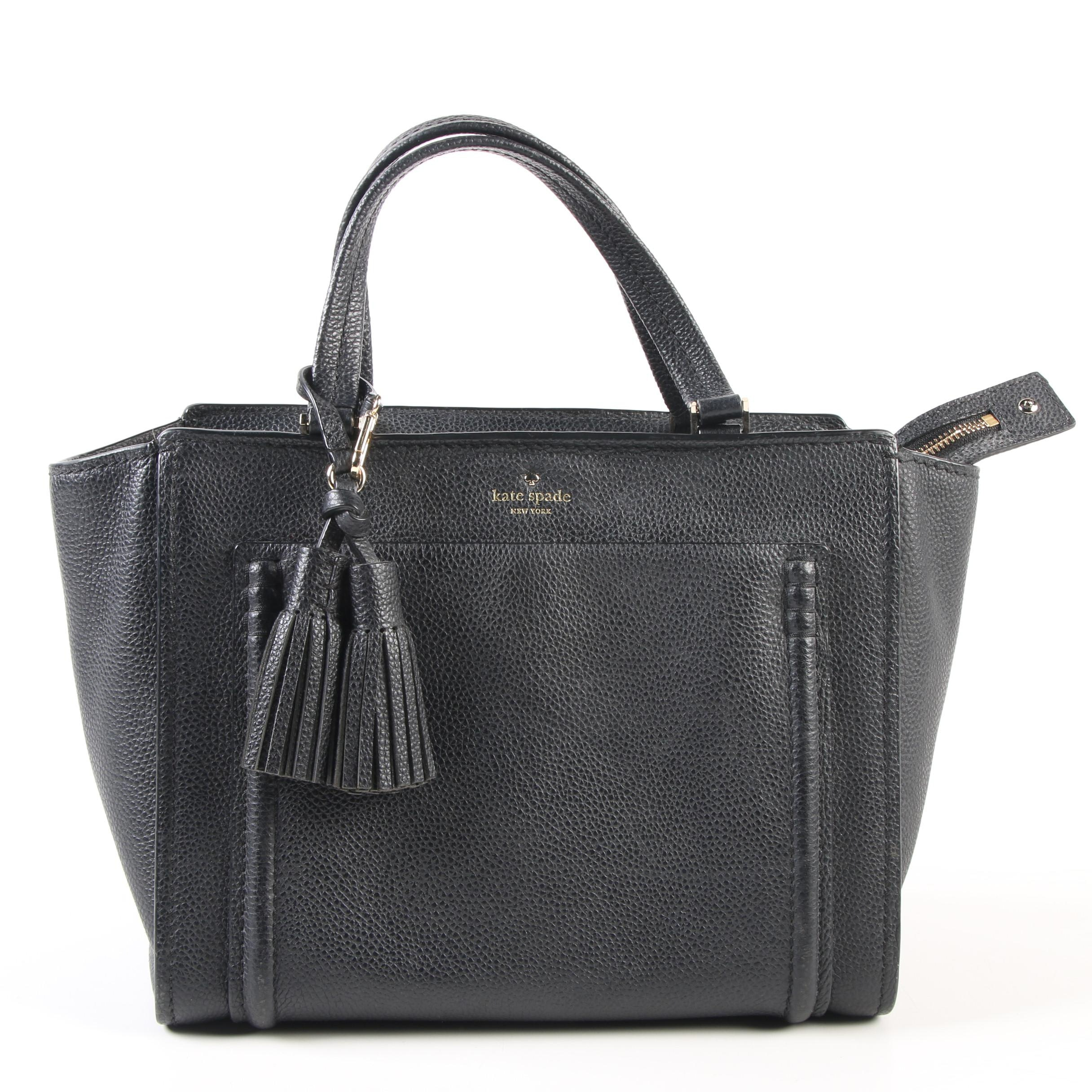 Kate Spade New York Black Pebbled Leather Tote with Tassels