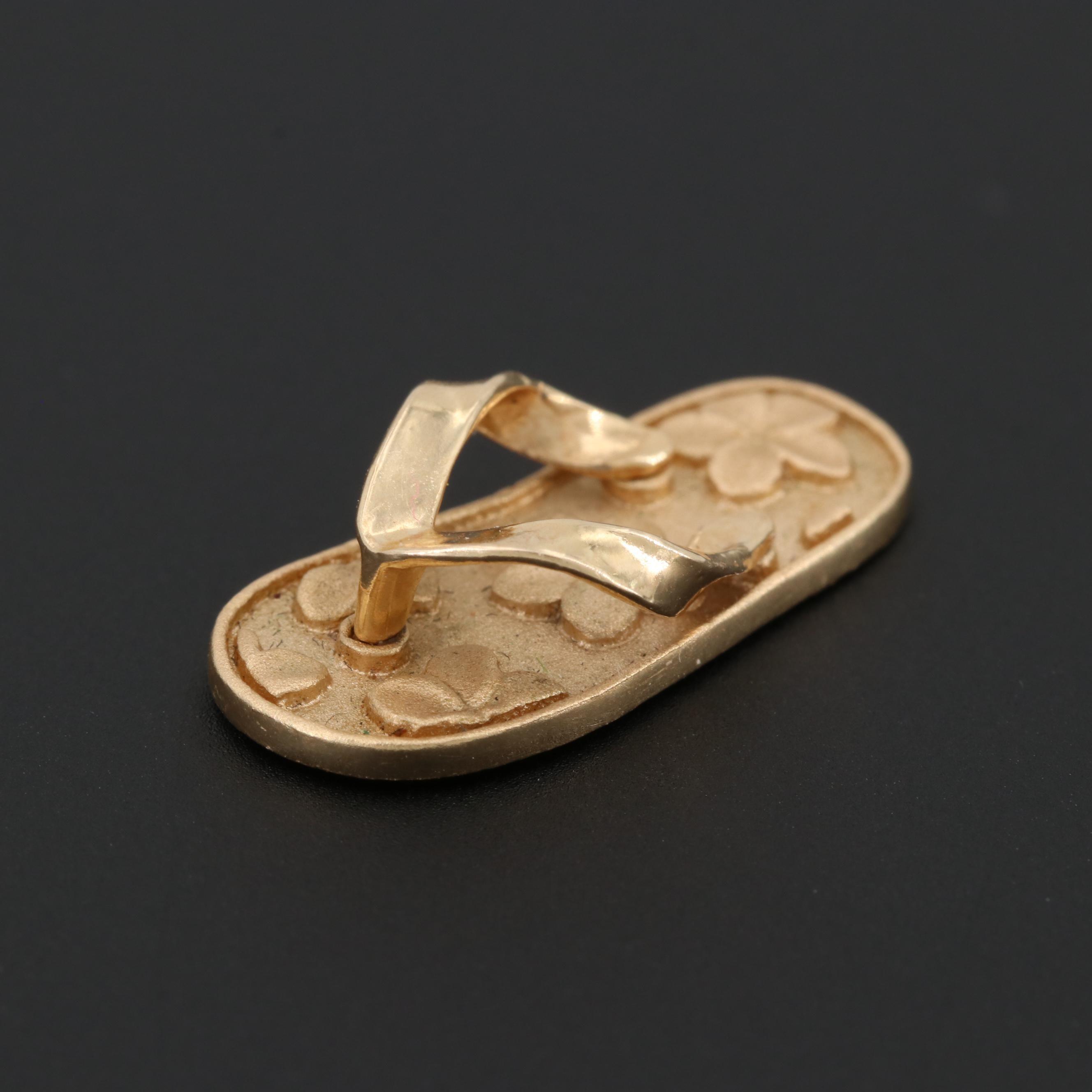 14K Yellow Gold Flip Flop Charm