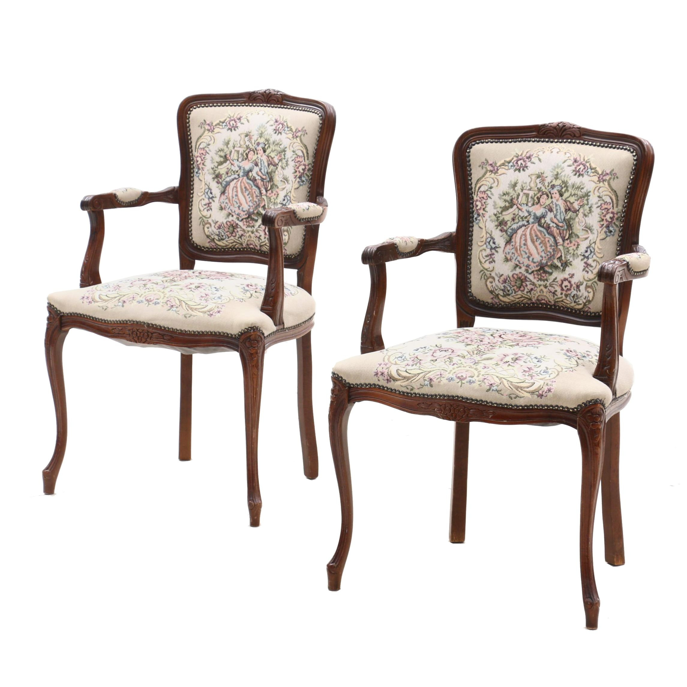 Louis XV Style Beech Tapestry Upholstered Arm Chairs, Mid-20th Century