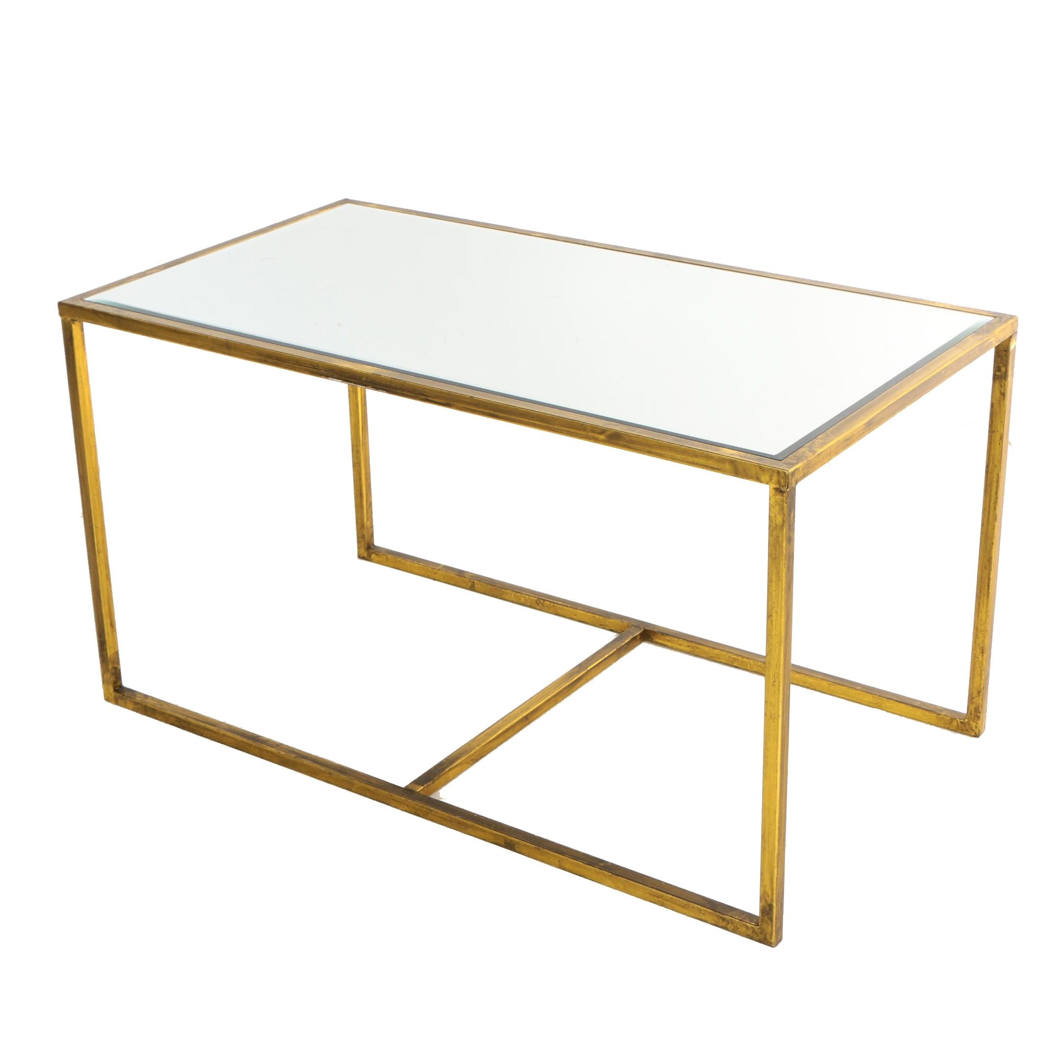Contemporary Gilt-Metal and Mirror-Topped Coffee Table