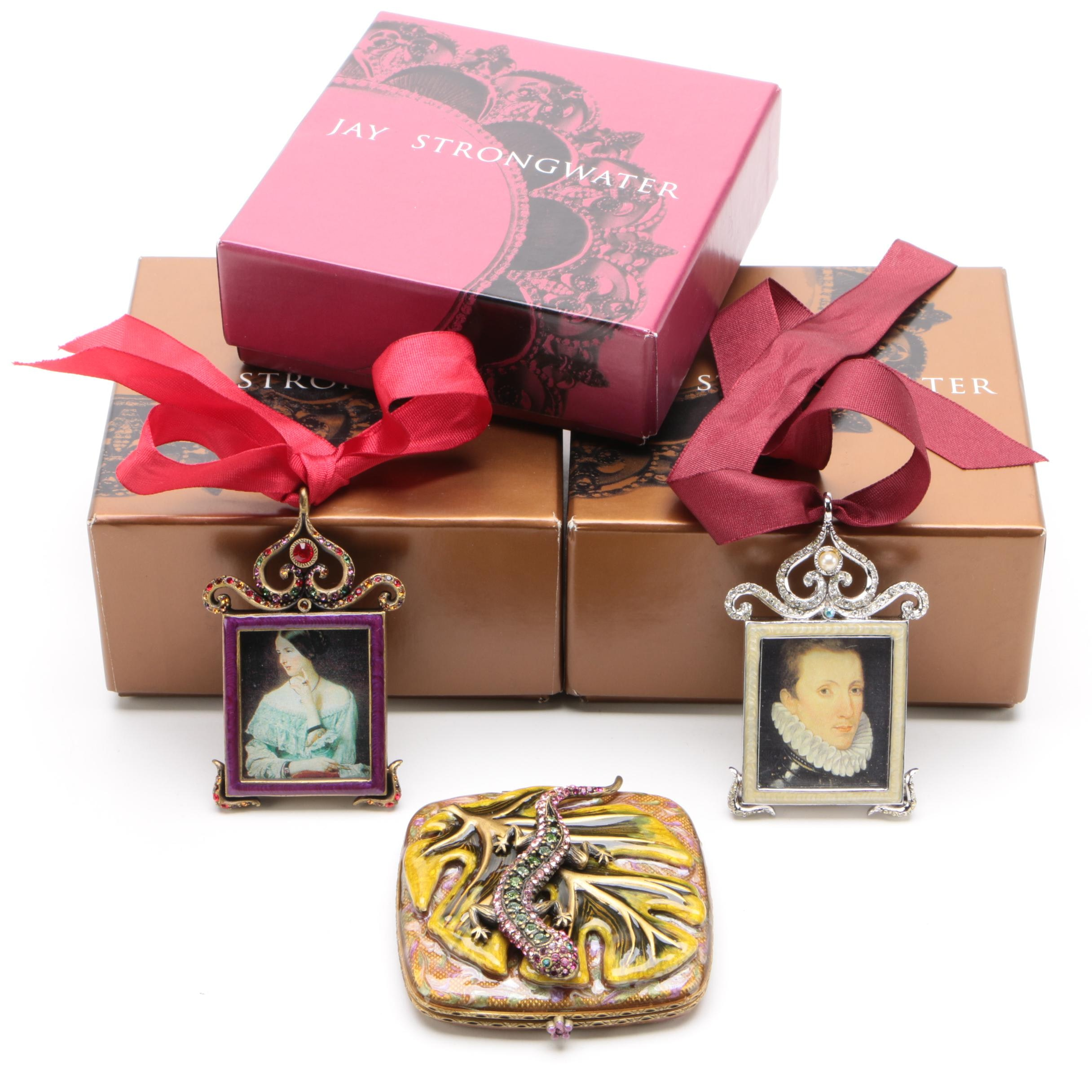 Jay Strongwater Miniature Picture Frame Ornaments and Mirror Compact